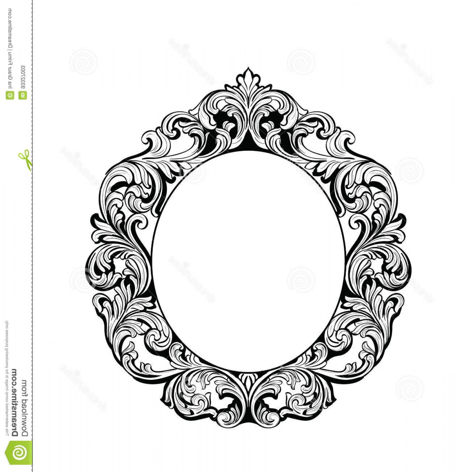 Luxury Round Frame Vector: Stock Illustration Imperial Baroque Mirror Round Frame Vector French Luxury Rich Intricate Ornaments Victorian Royal Style Decor Image