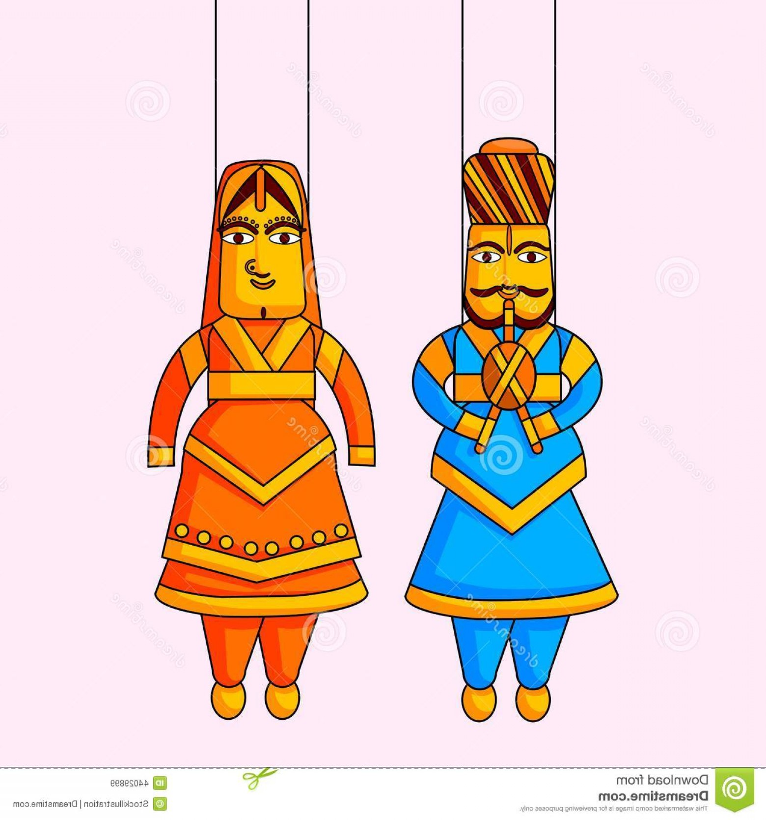 King And Queen Vector: Stock Illustration Indian Puppet King Queen Vector Image