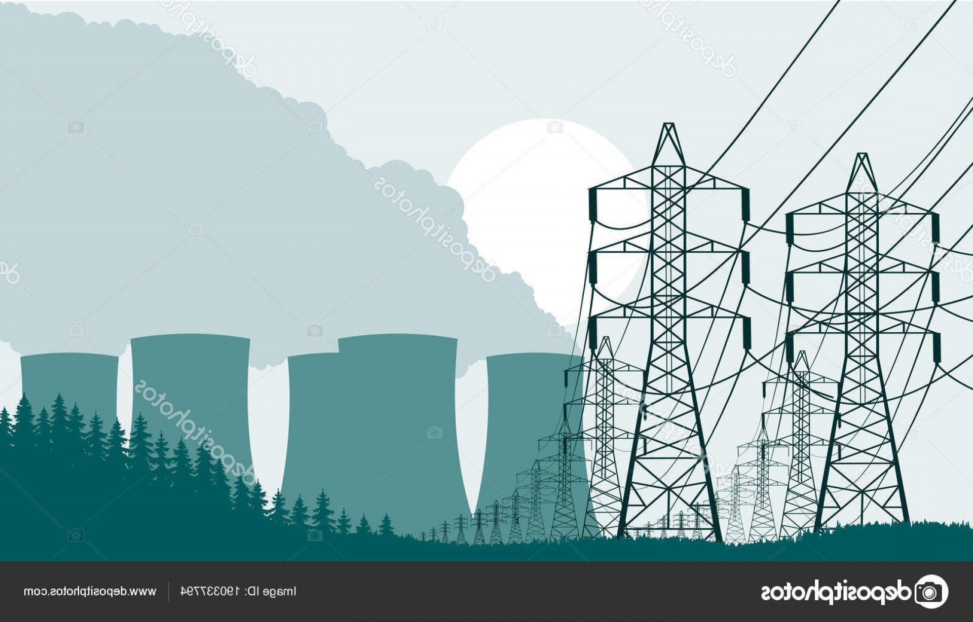 Vector Power Plant Utility: Stock Illustration Industrial Background Nuclear Power Plant