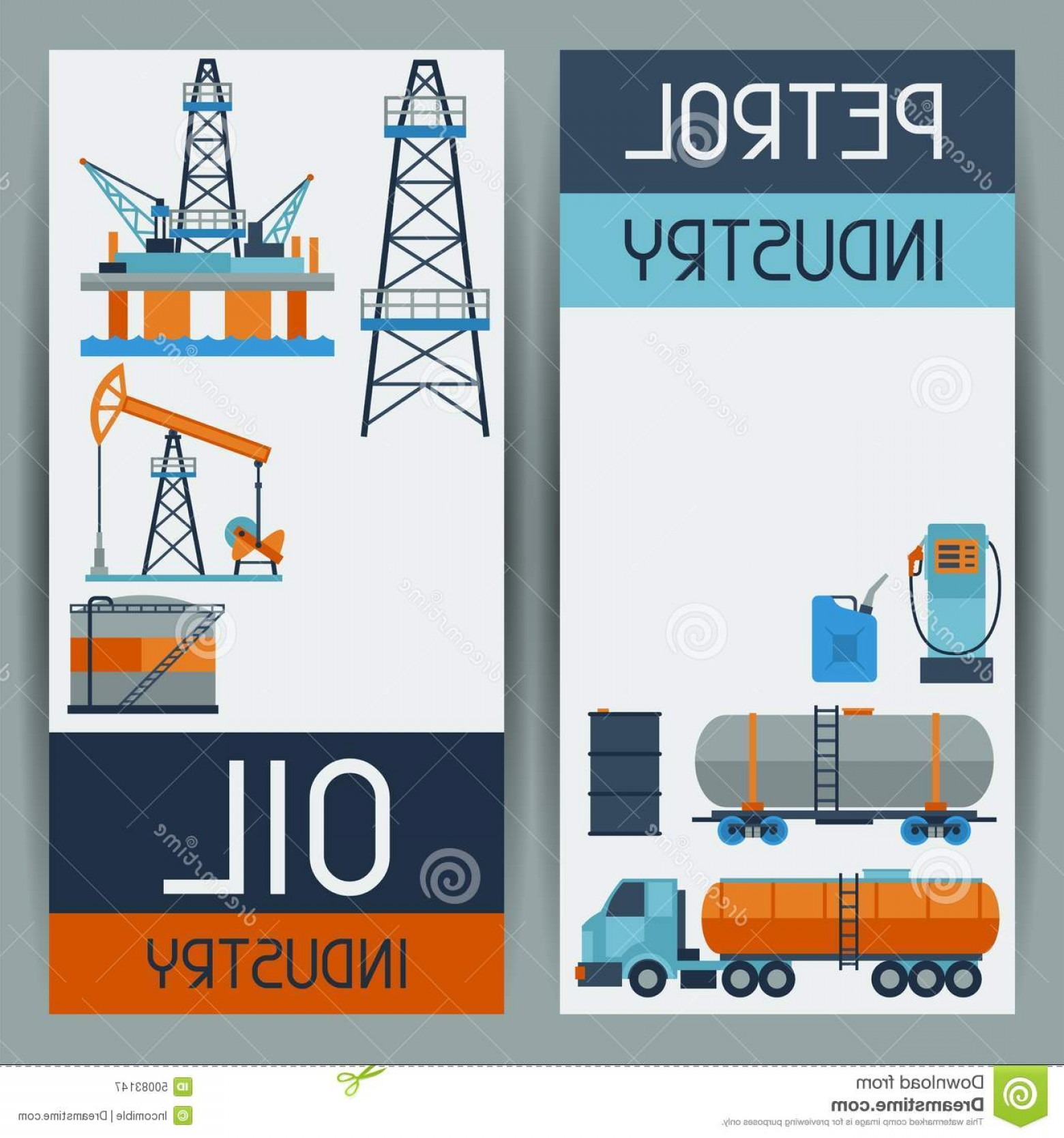 Oilfield Vector Crosses: Stock Illustration Industrial Banners Design Oil Petrol Icons Extraction Refinery Facilities Image