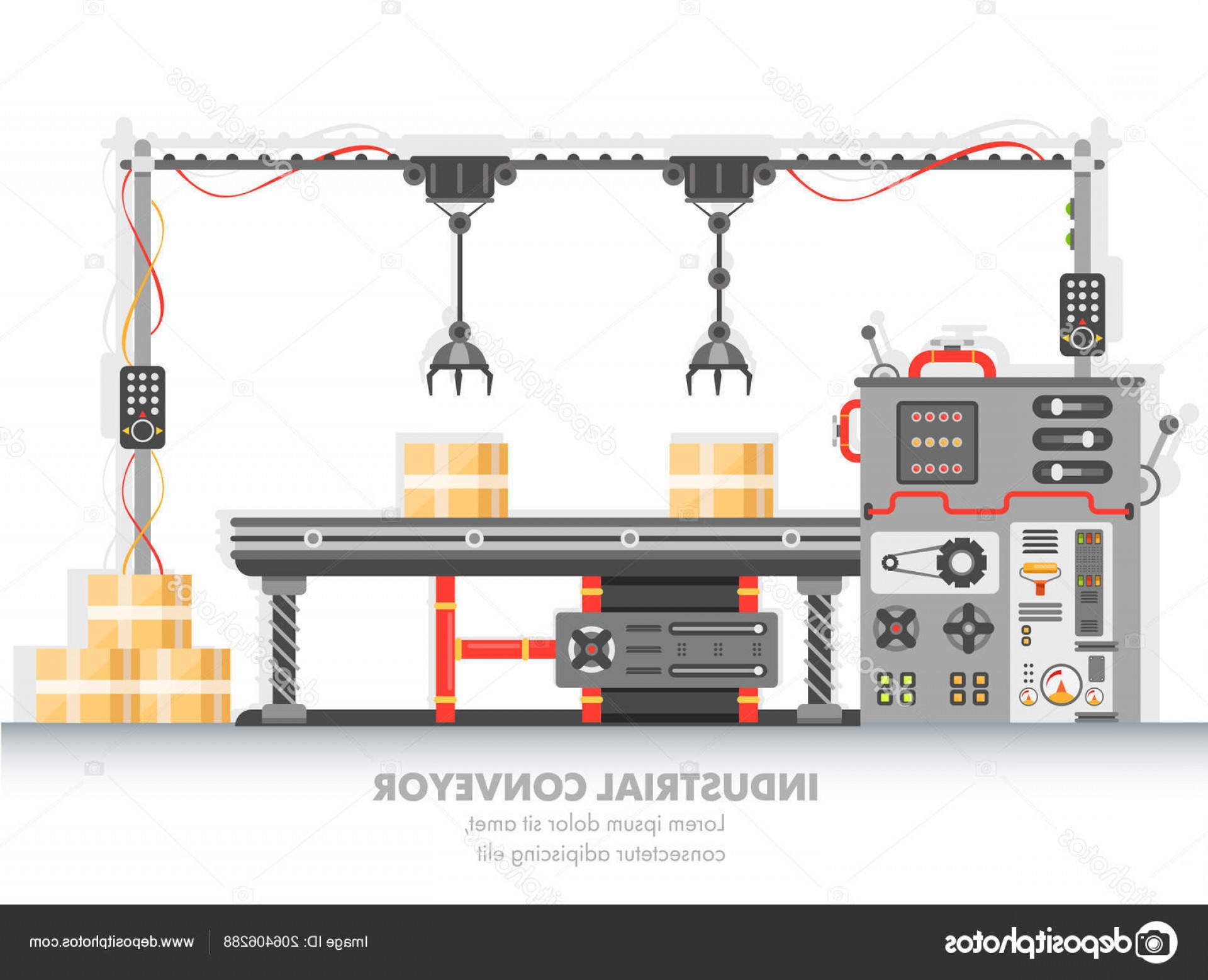 Vector Manufacturing Machine: Stock Illustration Industrial Manufacturing Line Automated Process