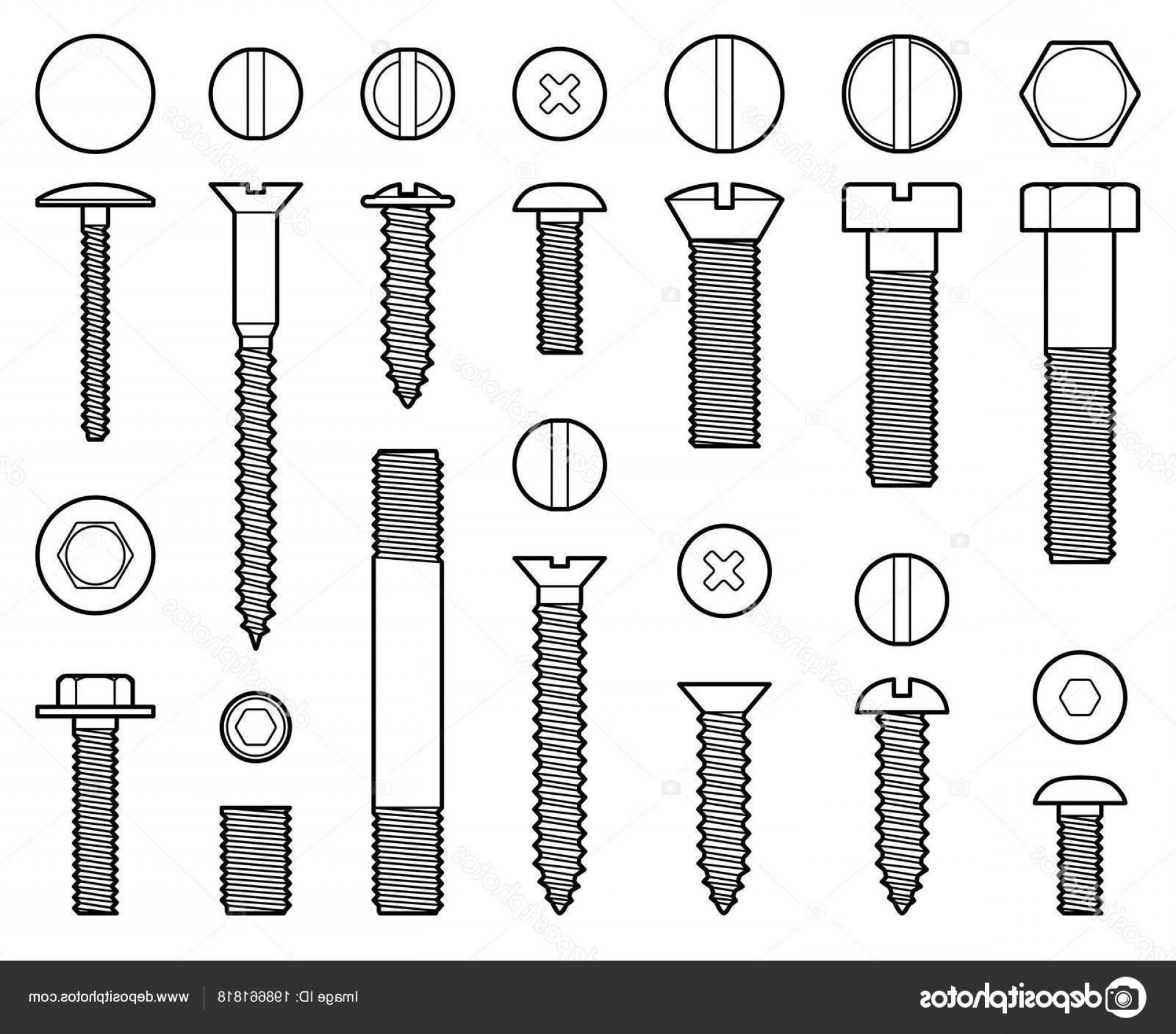 Screw Vector Black: Stock Illustration Industrial Screws Bolts Nuts And