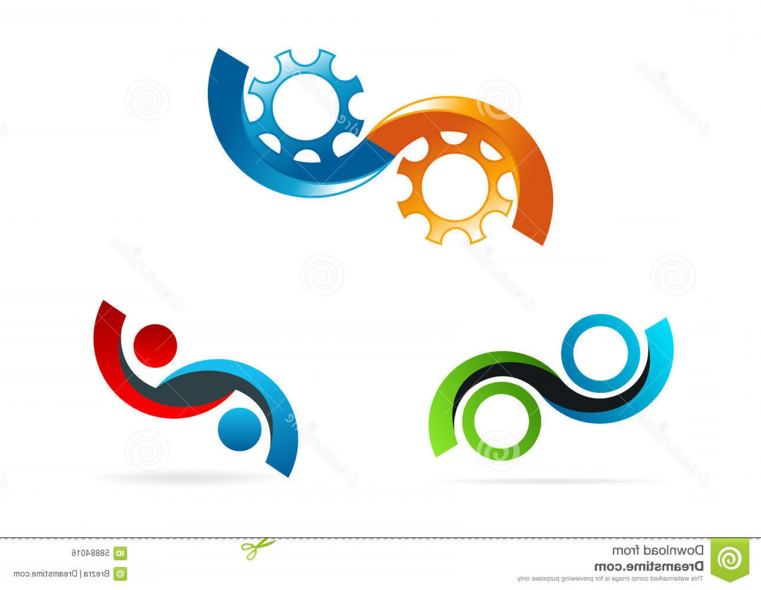 Vector Consulting Service: Stock Illustration Infinity Logo Circle Gear Symbol Service Consulting Icon Conceptof Infinite Technology Vector Design Concept Image