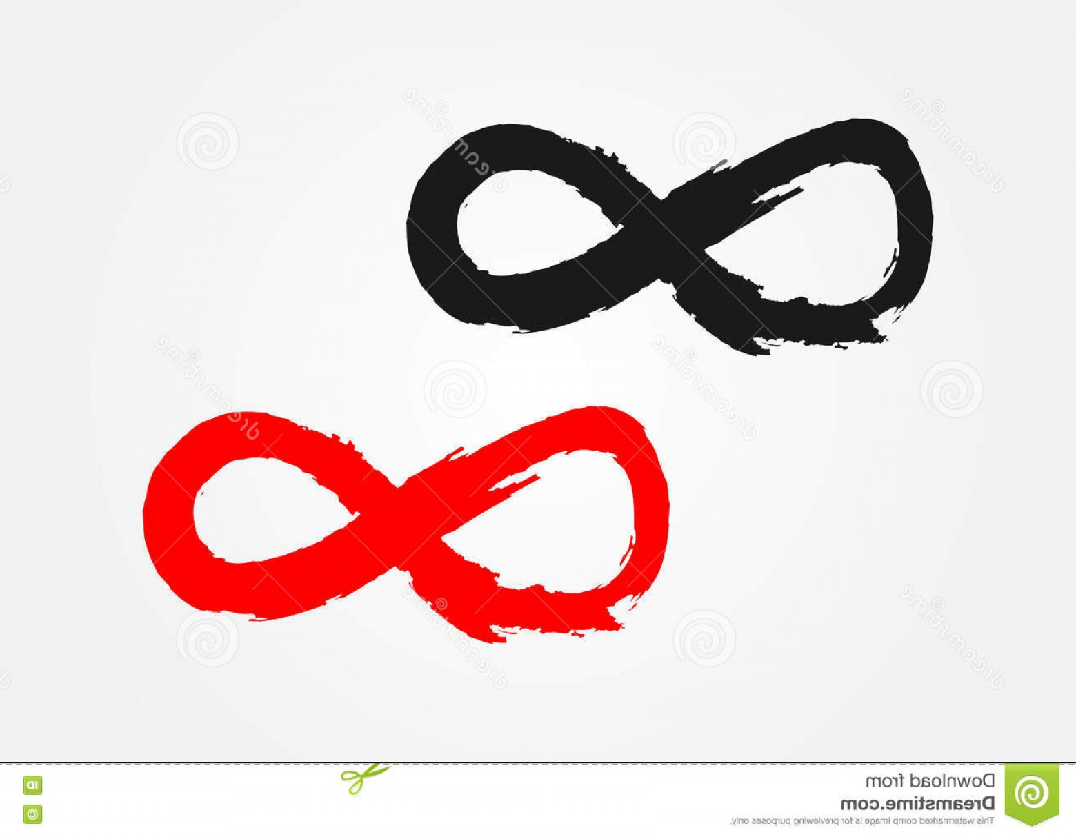 Infinity Grunge Heart Vector: Stock Illustration Infinity Sign Rough Brush Grunge Black Red Isolated Element Image