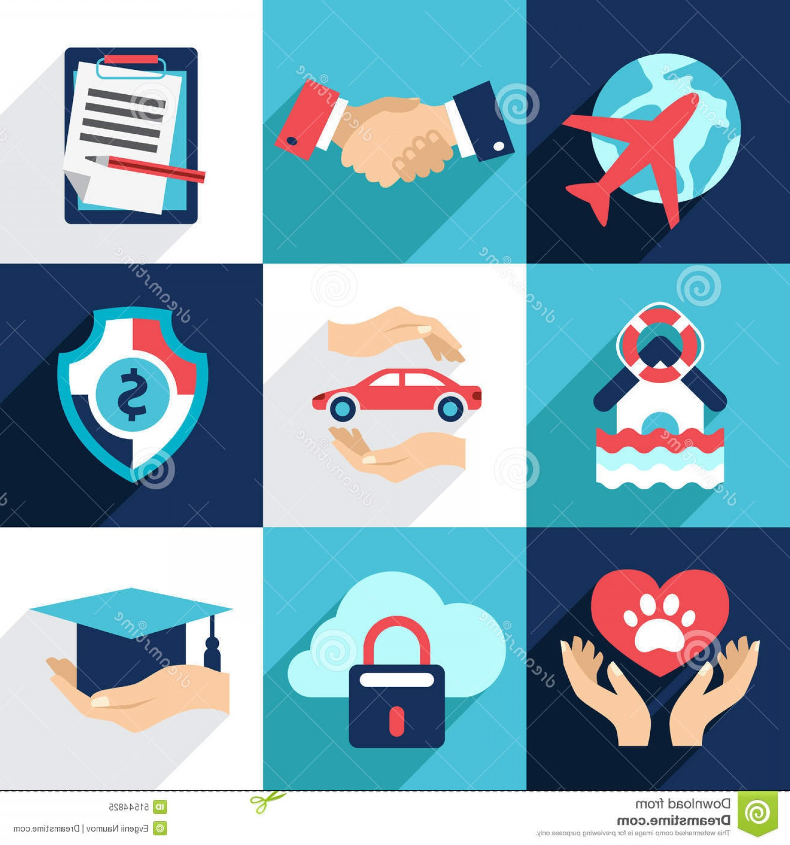 Vector Insurance: Stock Illustration Insurance Asset Protection Security Flat Style Icon Vector Image