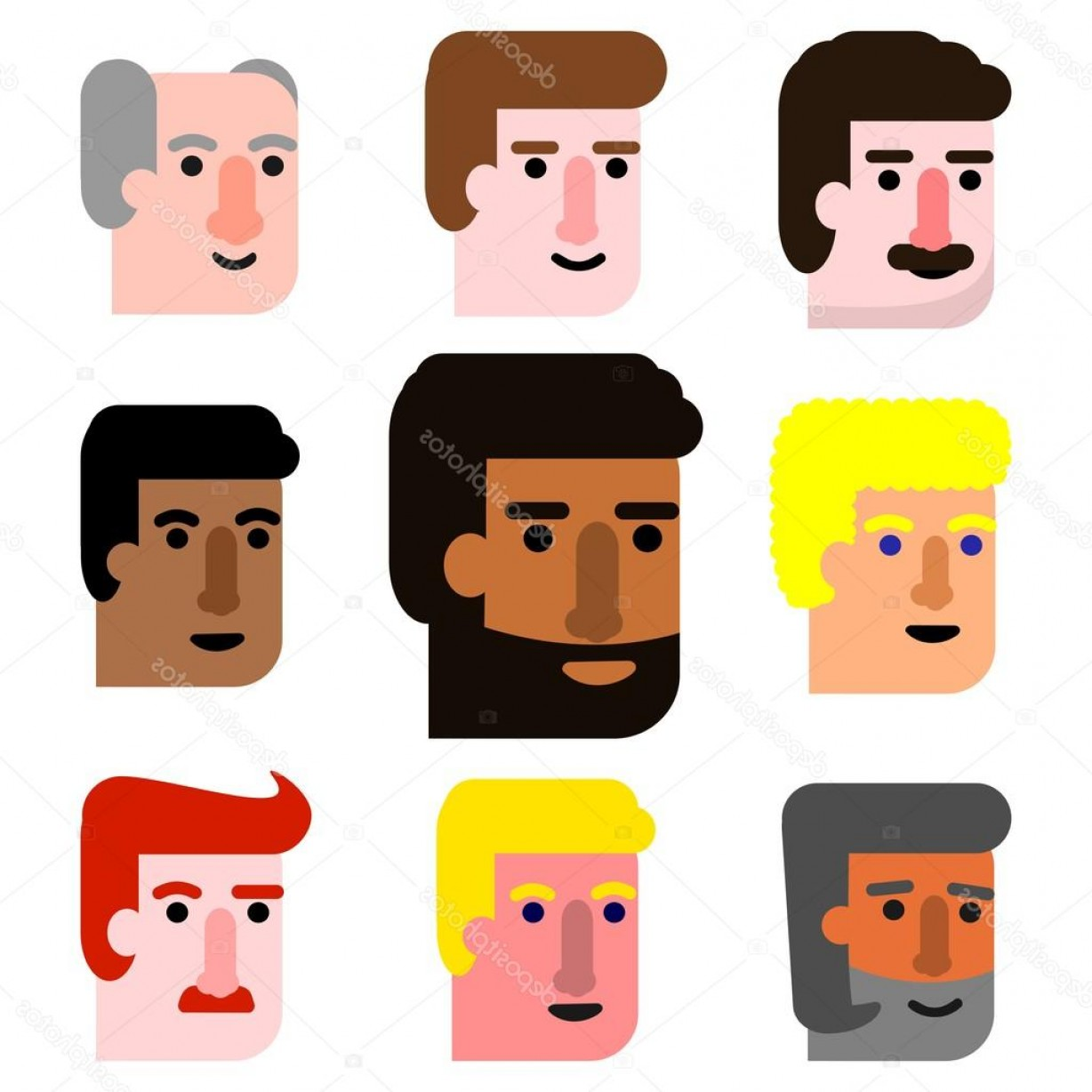 Male Face Icon Vector: Stock Illustration International Cartoon Male Faces Icon