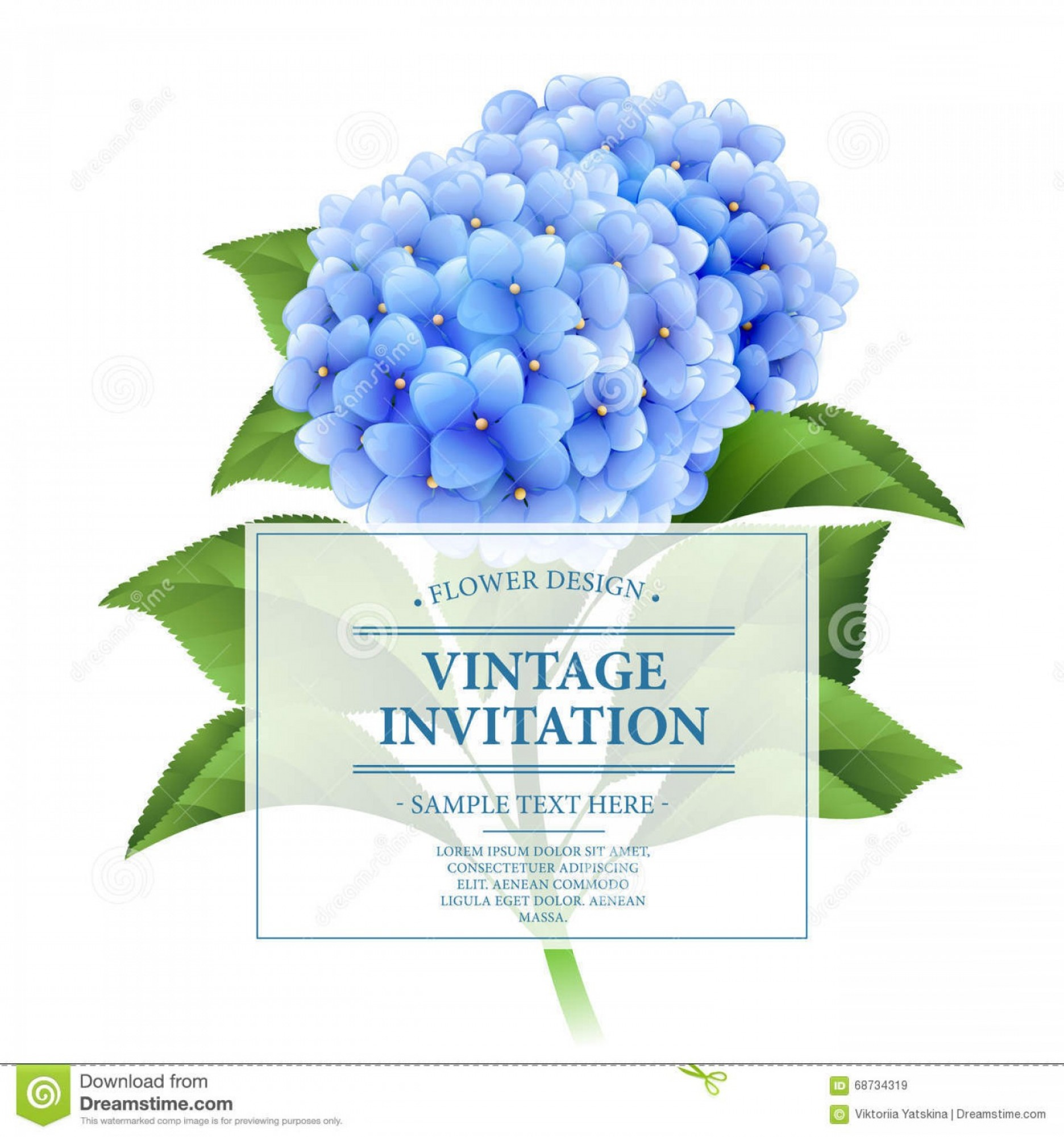 Vector Image Blue Hydrangeas: Stock Illustration Invitation Card Blue Hydrangea Flowers Vintage Floral Card Vector Illustration Eps Image