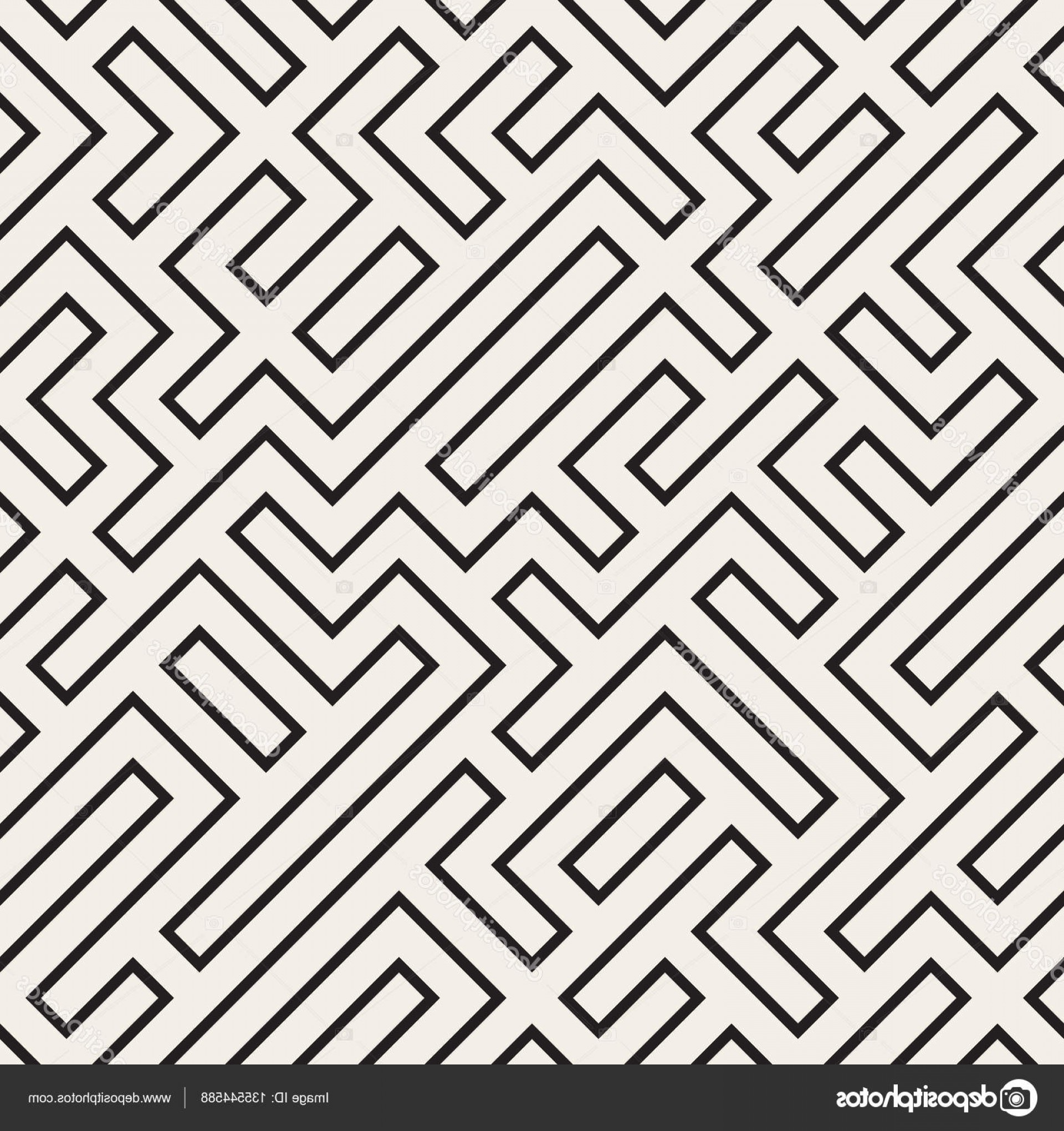 Black Abstract Lines Vector: Stock Illustration Irregular Maze Lines Vector Seamless