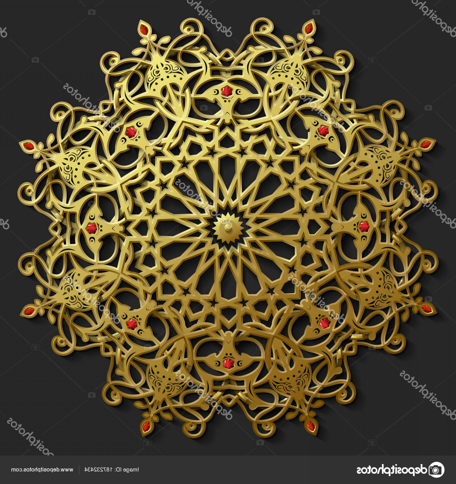 Vector Ornament Sets: Stock Illustration Islamic Oriental Pattern Set Abstract