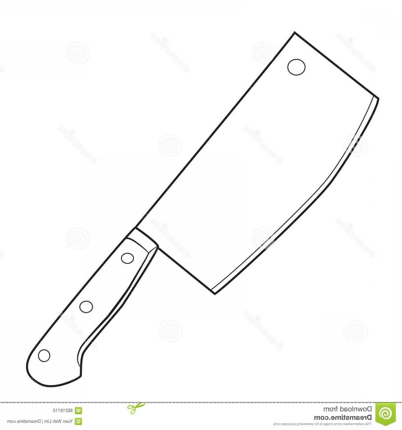 Butcher Knife Vector: Stock Illustration Isolated Butcher Knife Cartoon Drawing Illustration Vector Eps Image