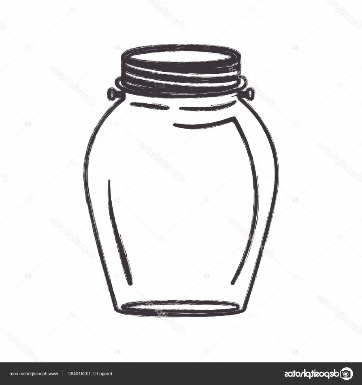 Mason Jar Outline Vector: Stock Illustration Isolated Mason Jar Design