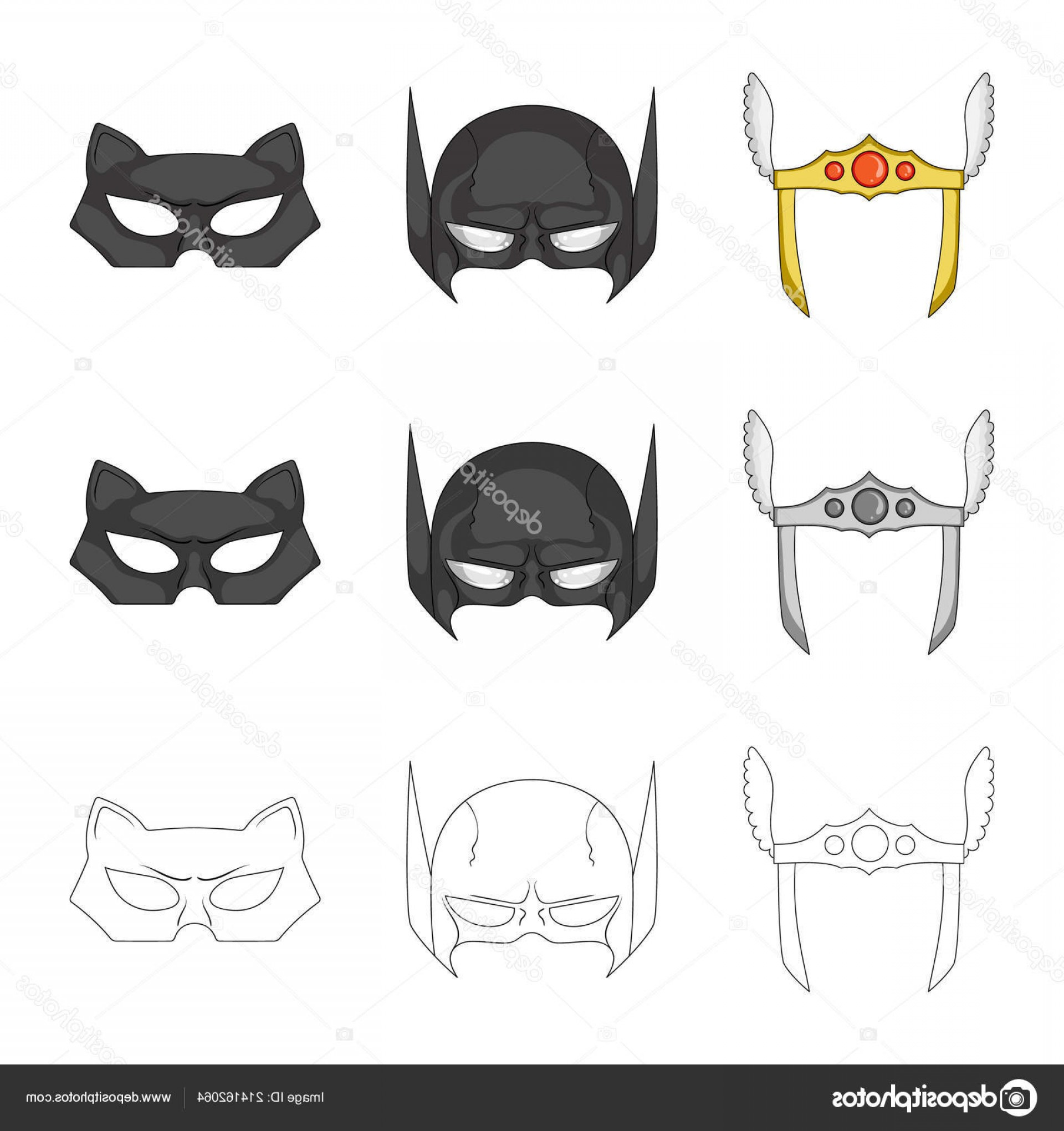 Batman Mask Sketch Vector: Stock Illustration Isolated Object Of Hero And