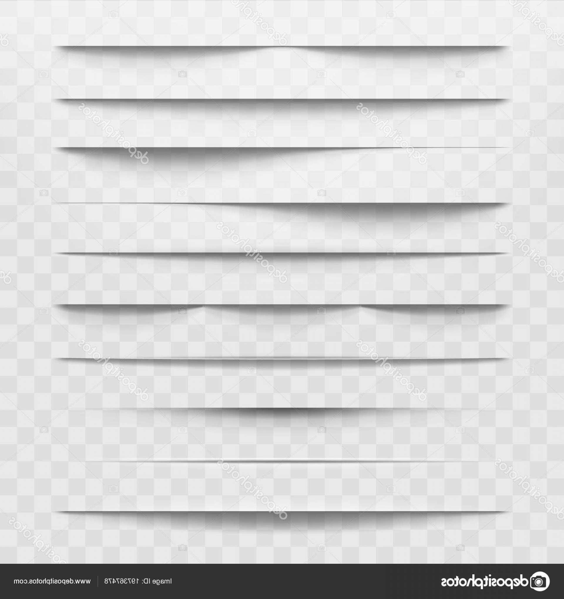 Vector Line Dividers Transparent Backgrounds: Stock Illustration Isolated Shadow Dividers On Transparent