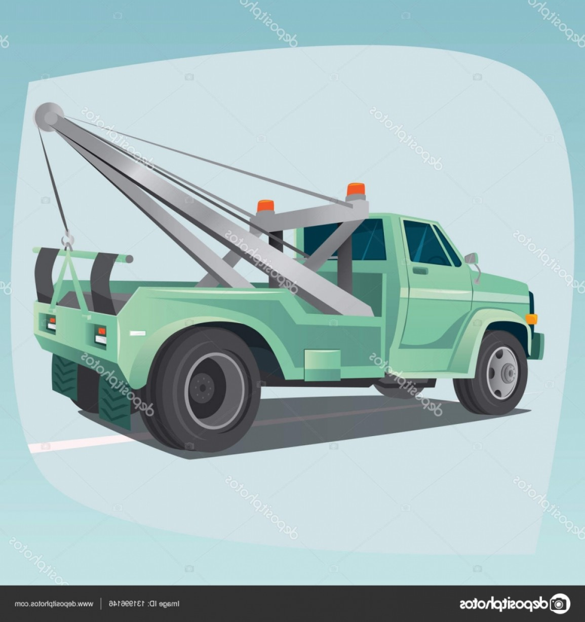 Gruas Truck Vector: Stock Illustration Isolated Tow Truck With Crane
