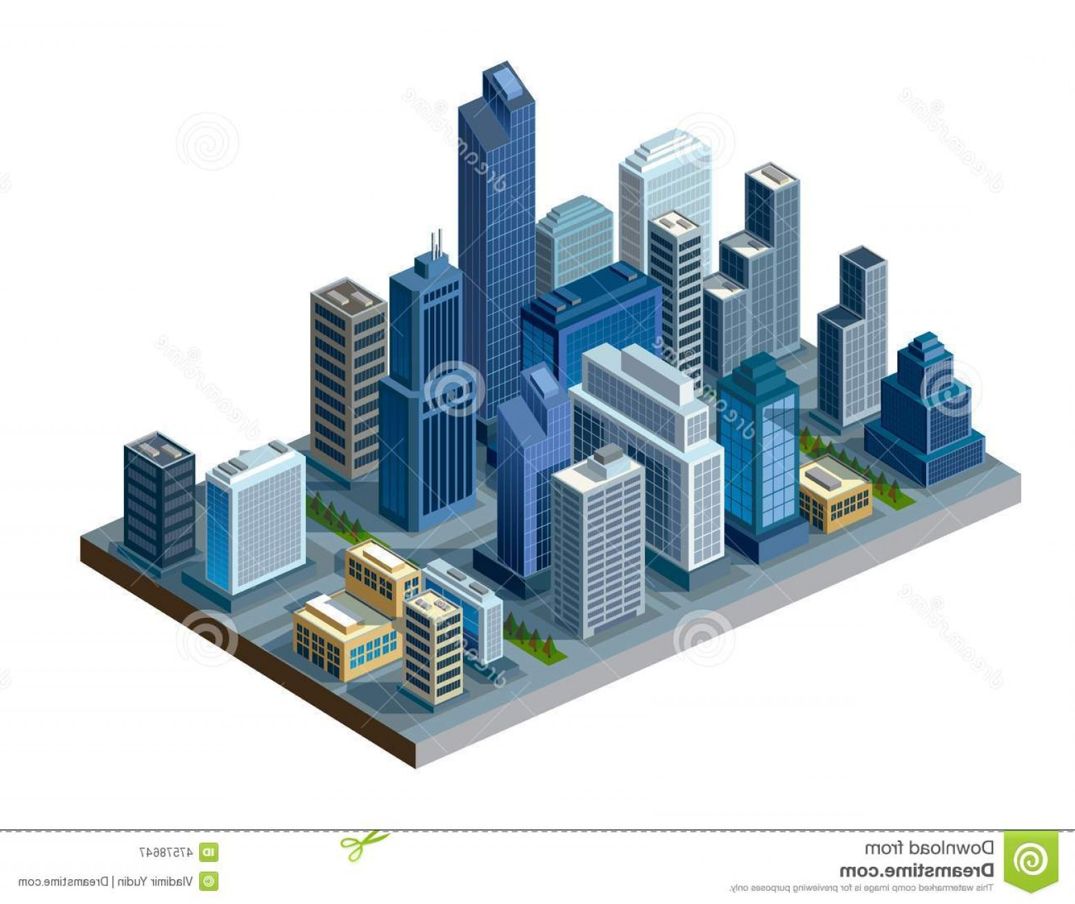 City Building Vector Free Download: Stock Illustration Isometric City Vector Color Illustration Map Image