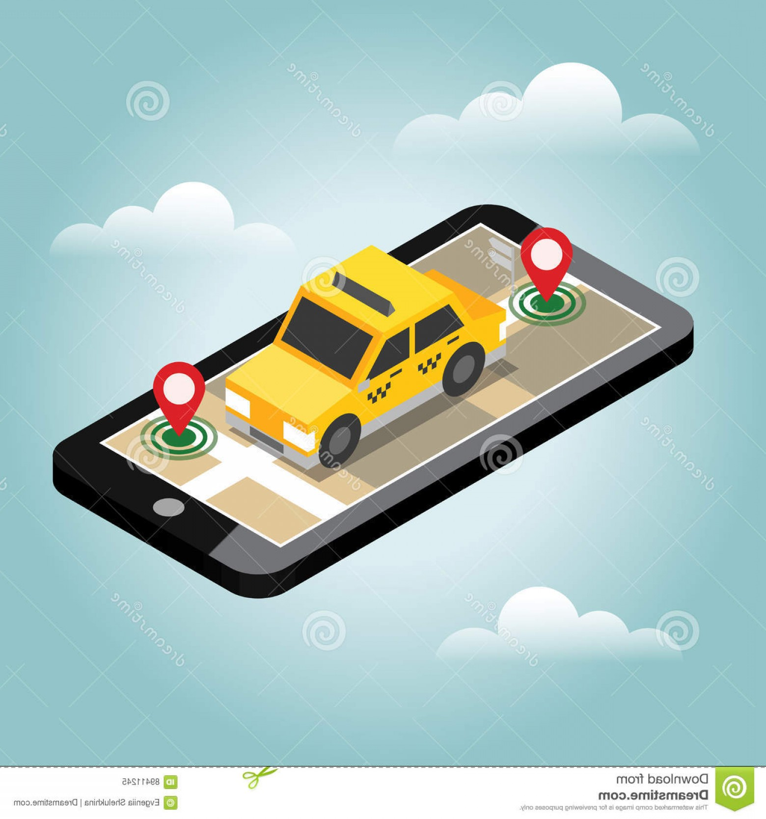 Geo-Tracking Vector: Stock Illustration Isometric Location Mobile Geo Tracking Map Taxi Flat D Vector Illustration Concept Picture Image