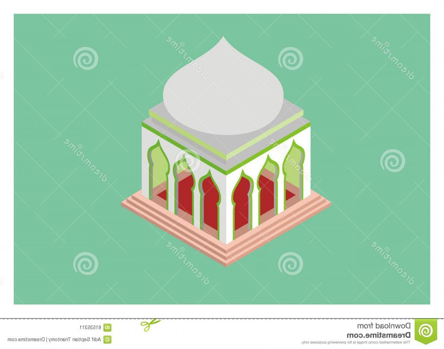 Mosque Vector Map: Stock Illustration Isometric Mosque Simple Illustration View Image