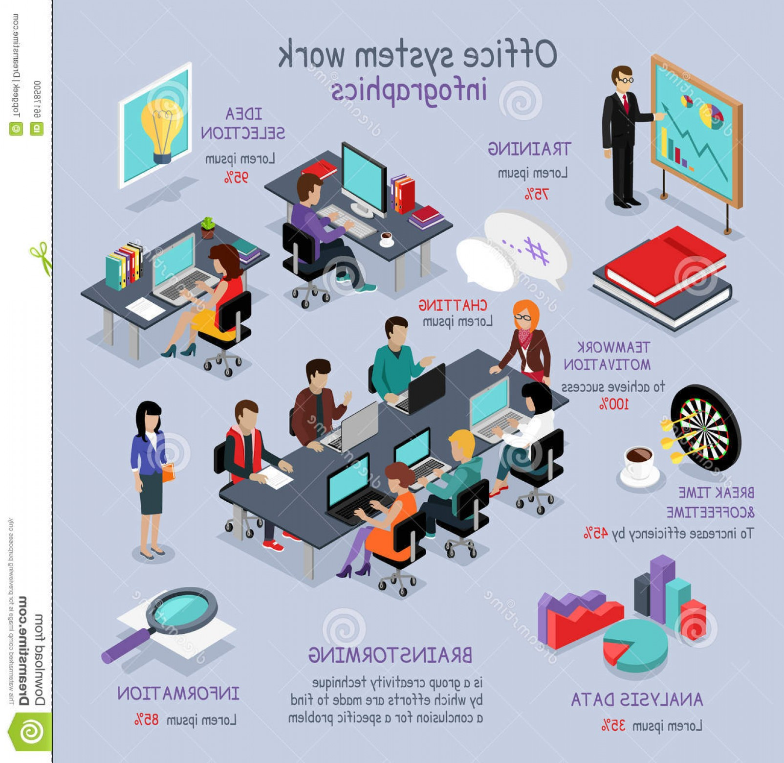 Vector System Infographic: Stock Illustration Isometric Office System Work Infographic D Interior Desk Business People Room Analysis Data Image