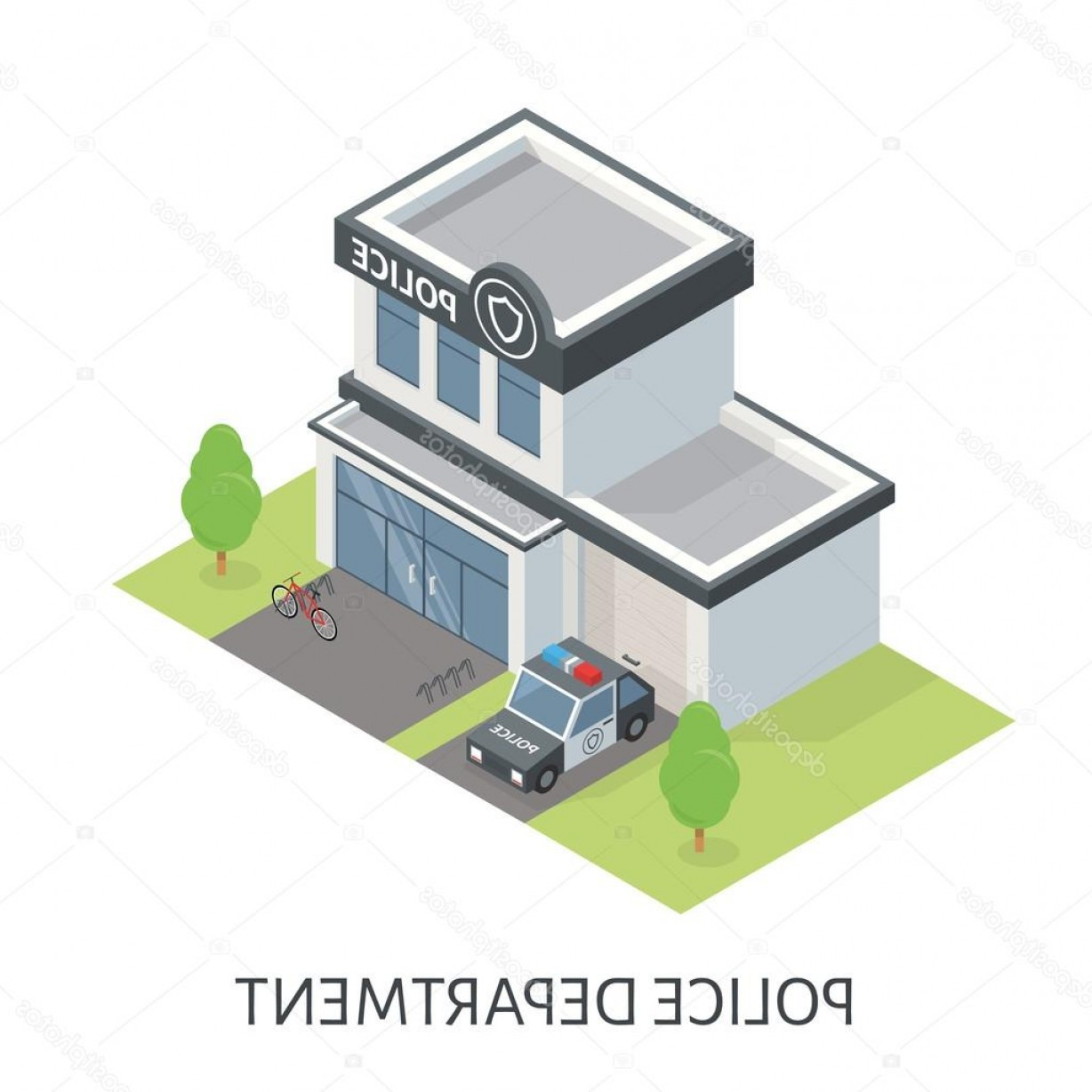 Vector Police Department: Stock Illustration Isometric Police Department Building Patrol