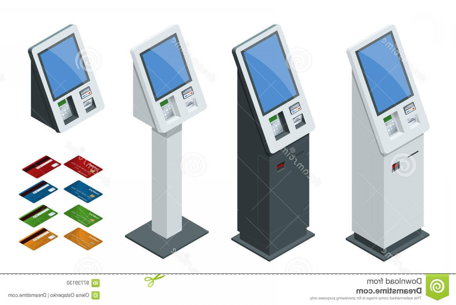 Vector One Debit Check: Stock Illustration Isometric Set Vector Online Payment Systems Self Service Payments Terminals Debit Credit Card Cash Receipt Nfc Image