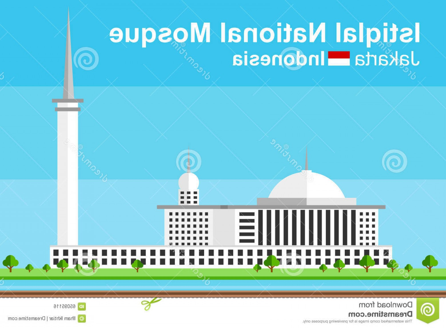 Mosque Vector Map: Stock Illustration Istiqlal Mosque Jakarta Simplified Flat Styled Vector Indonesia As Viewed Aside Image
