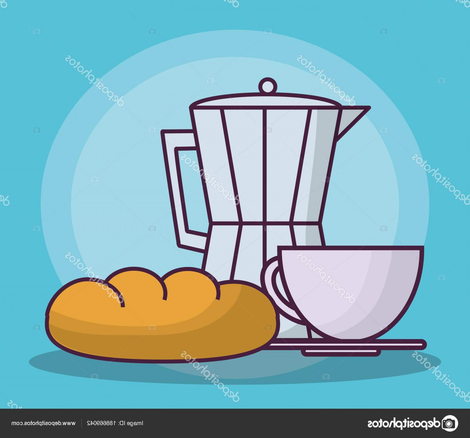 Lean Cup Vector: Stock Illustration Italian Coffee Maker Icon