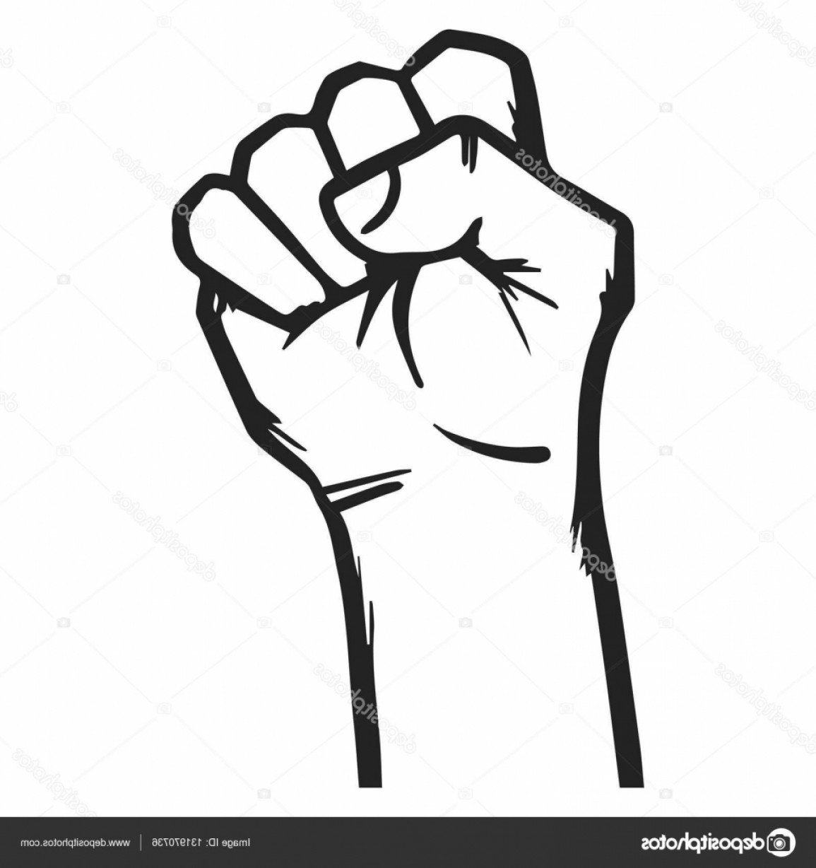 Hand Fist Vector: Stock Illustration Jammed Fist Strong Hand Vector
