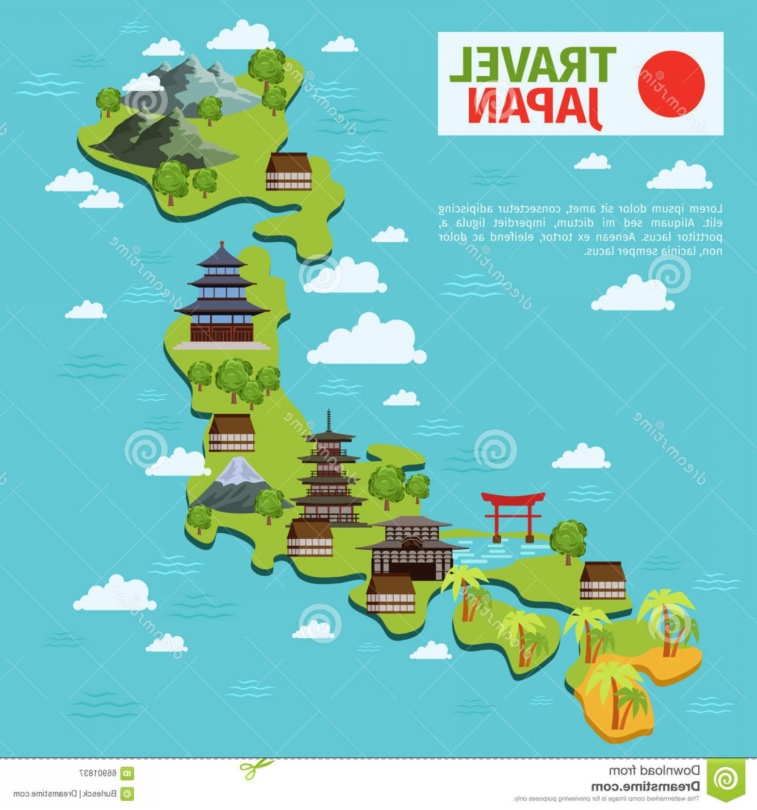 Japan Map Vector: Stock Illustration Japan Travel Vector Map Traditional Japanese Landmarks Culture Architecture Illustration Image