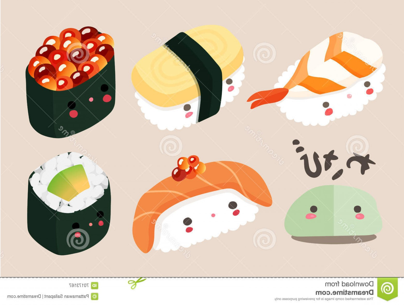Sushi Vector Art: Stock Illustration Japanese Food Illustration Sushi Vector Cartoon Comic Cute Kawaii Characters Set Image