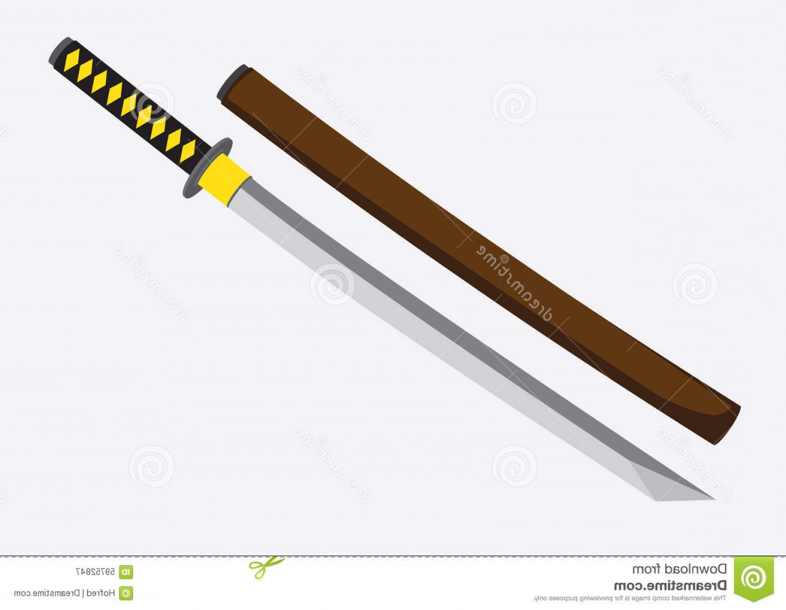 Samuri Sword Vector: Stock Illustration Japanese Samurai Sword Vector Illustration Katana Ancient Its Wooden Mounting Plain Background Image