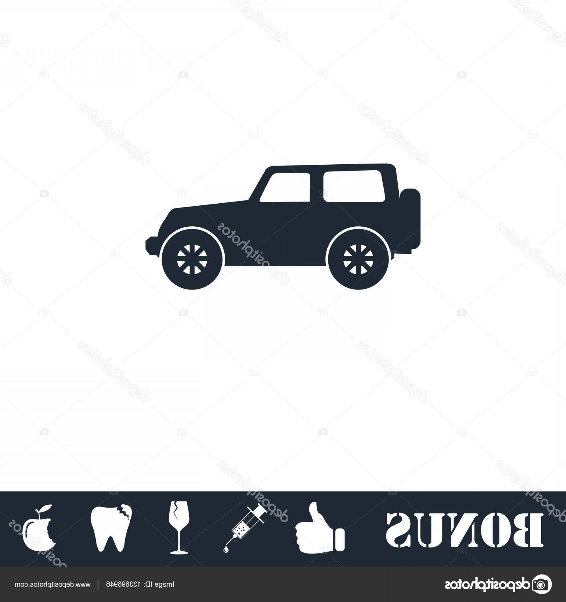 Jeep Tire Vector: Stock Illustration Jeep Travel Icon Flat