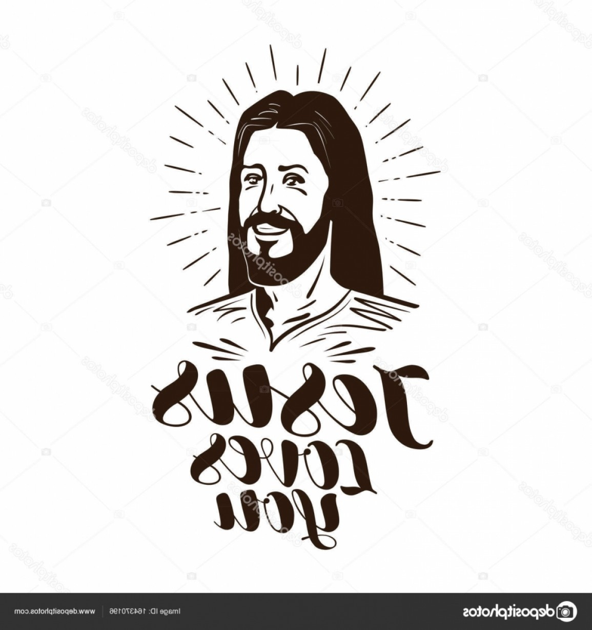 Faith Lions Vector Art Images: Stock Illustration Jesus Loves You Lettering Religion