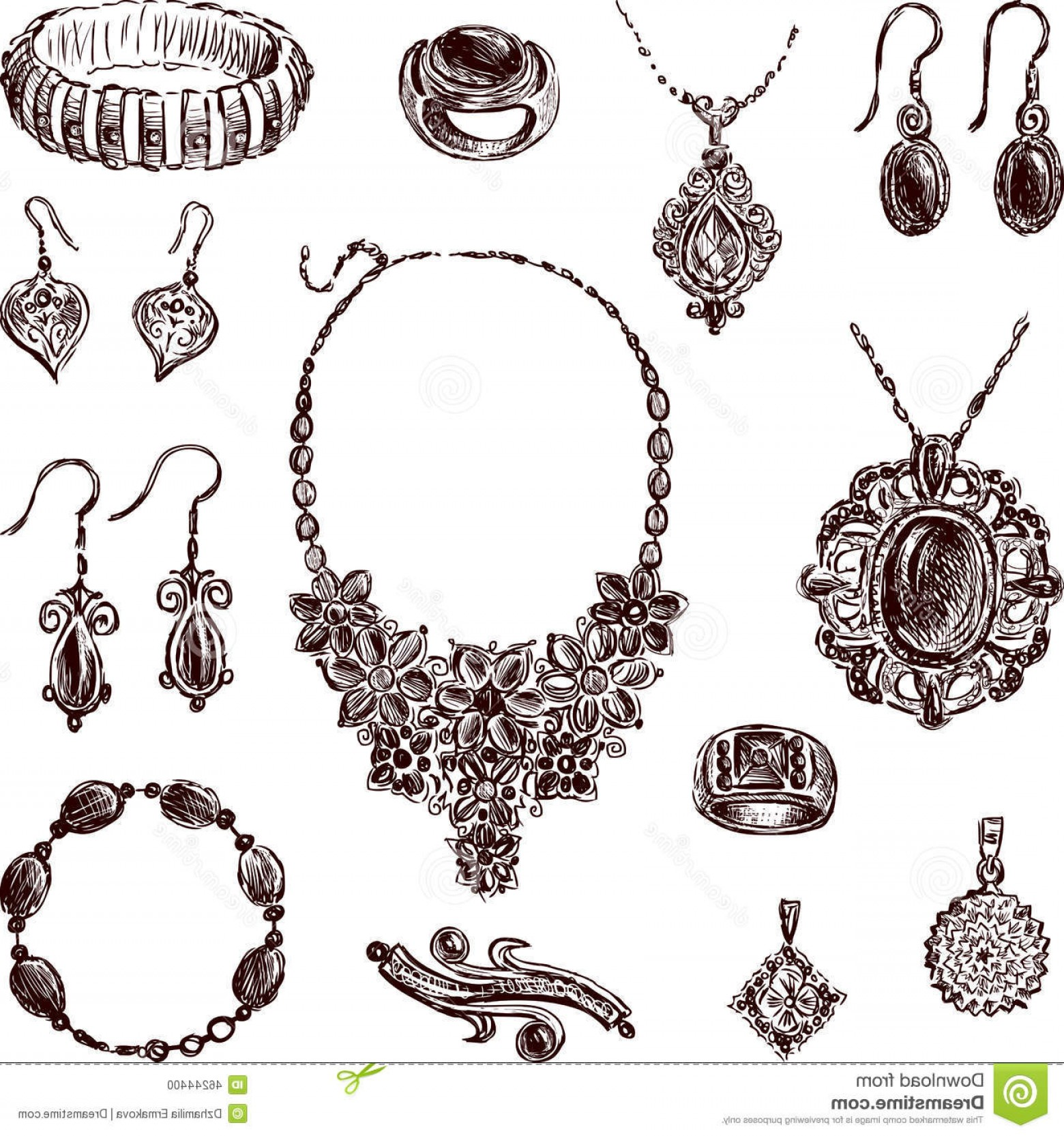 Jewelry Vector Line Art: Stock Illustration Jewelry Vector Drawing Different Jewelries Image