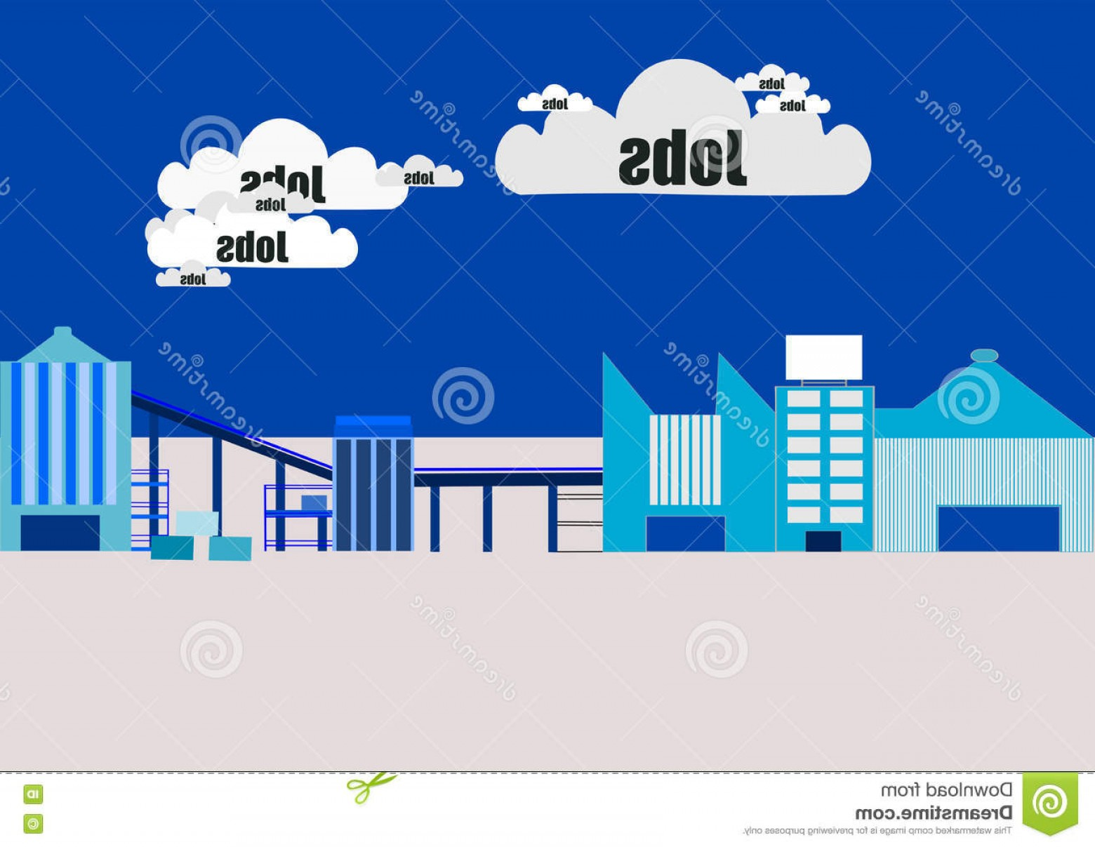 Vector Job Opportunities: Stock Illustration Jobs Cloud Investment New Industrial Manufacturing Plants Stimulate Growth Create New Employment Opportunities Image