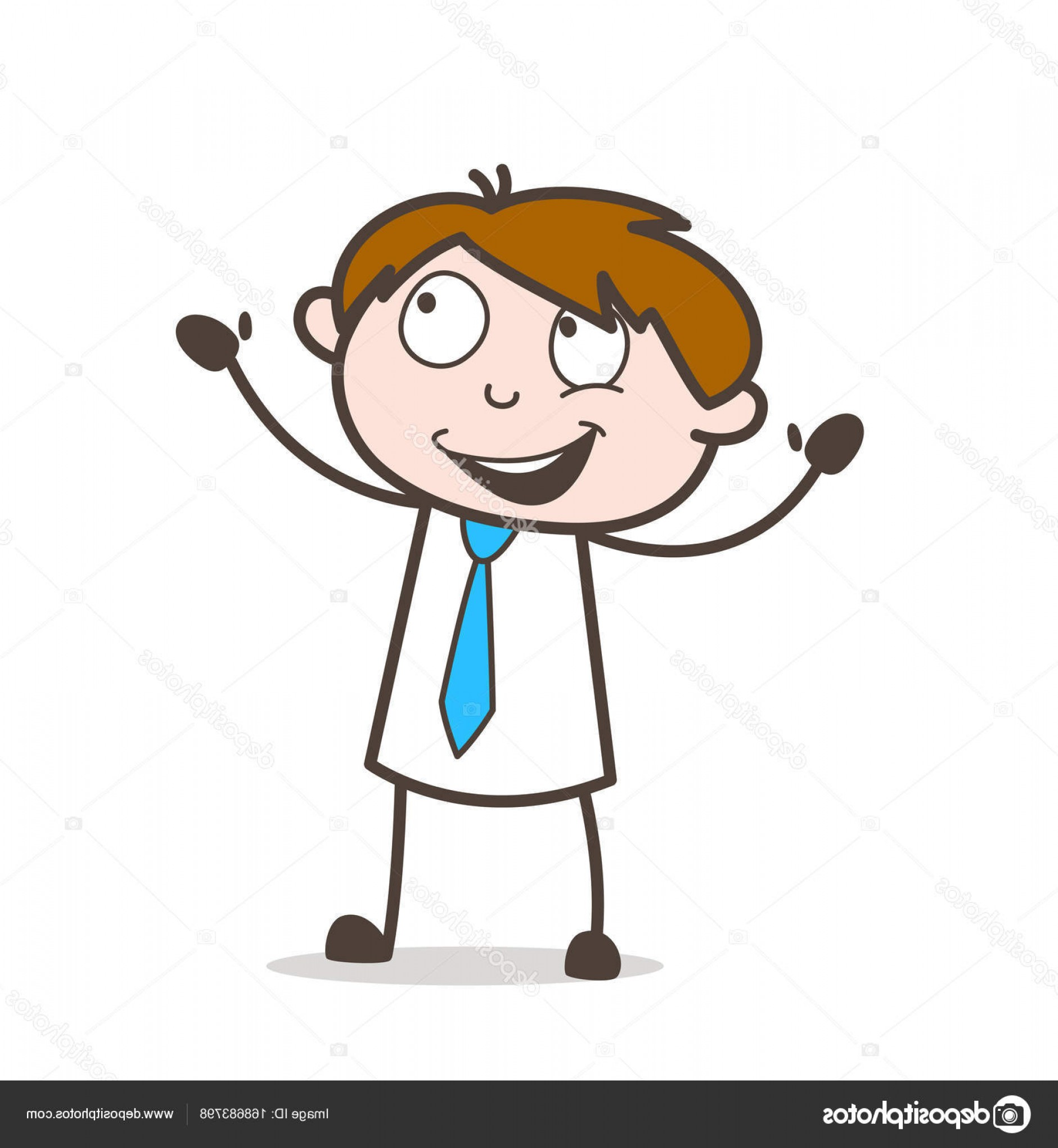 Salesman Vector: Stock Illustration Joyful Cartoon Salesman Character Vector