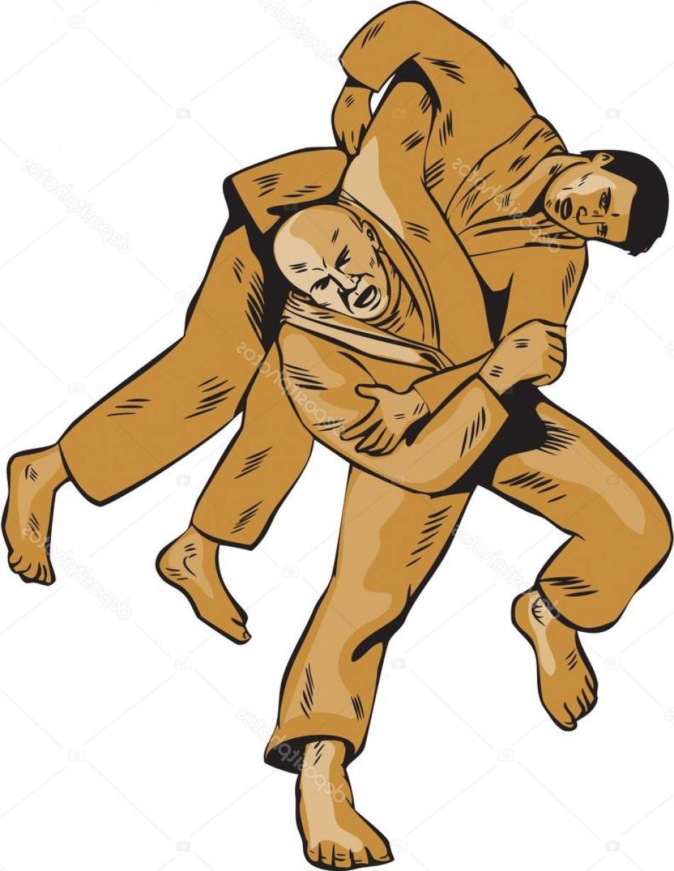 Judo Throw Vector Graphics: Stock Illustration Judo Combatants Throw Front Etching