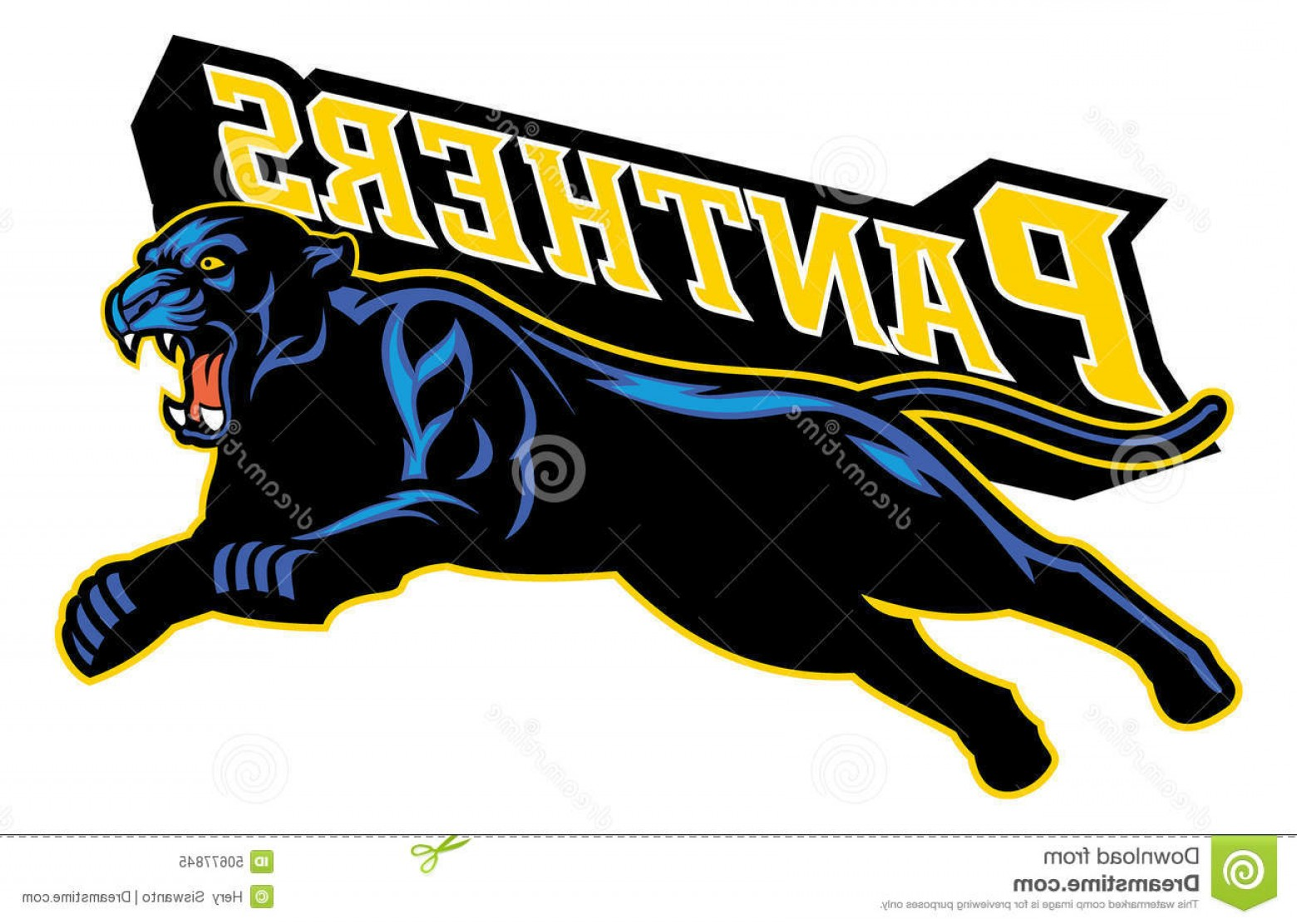Panther Vector: Stock Illustration Jumping Black Panther Vector Image