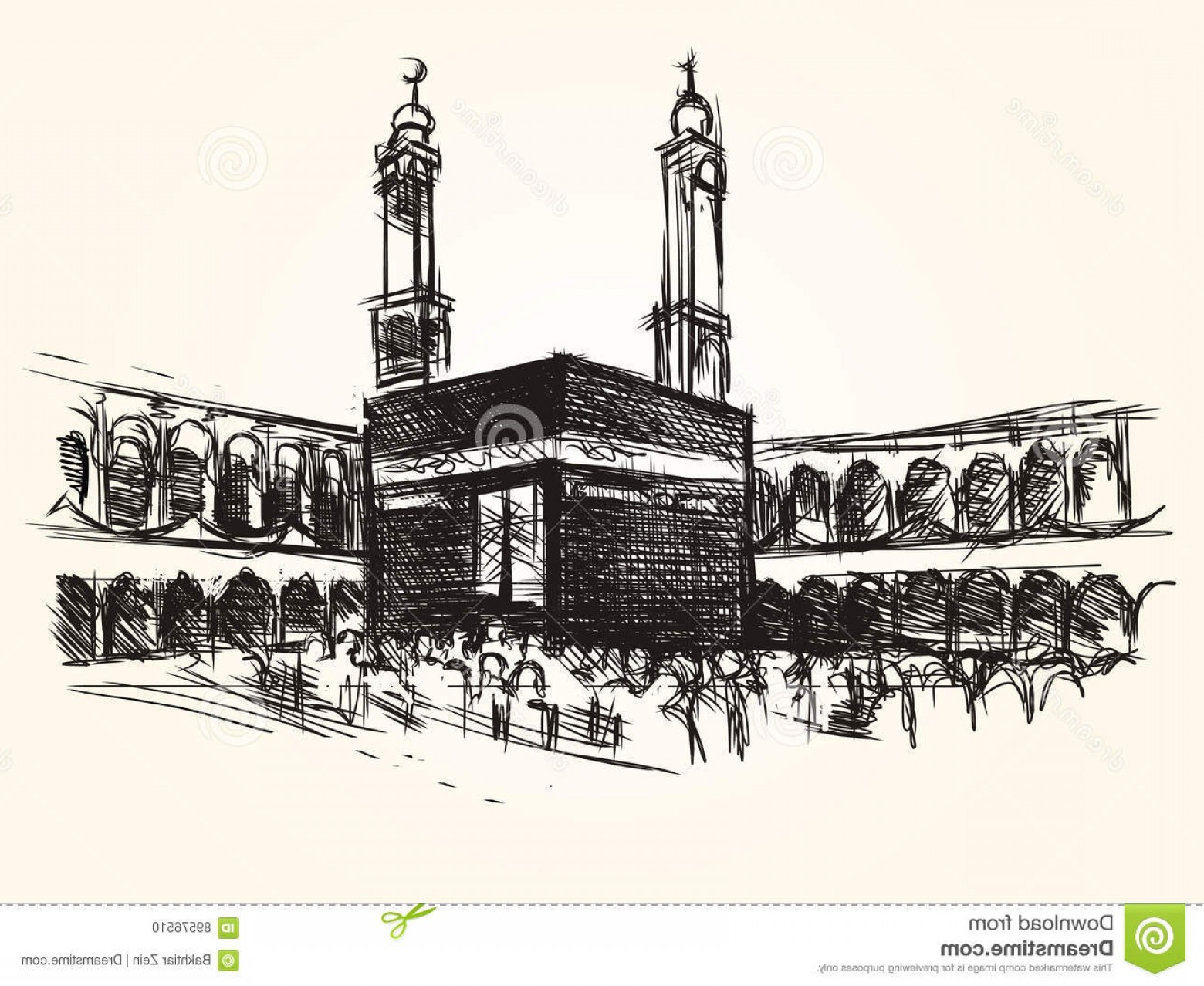 Vector Holy Shrine: Stock Illustration Kaaba Holy Symbolic Building Islam Vector Sketch Drawing Pilgrimage Hajj Image