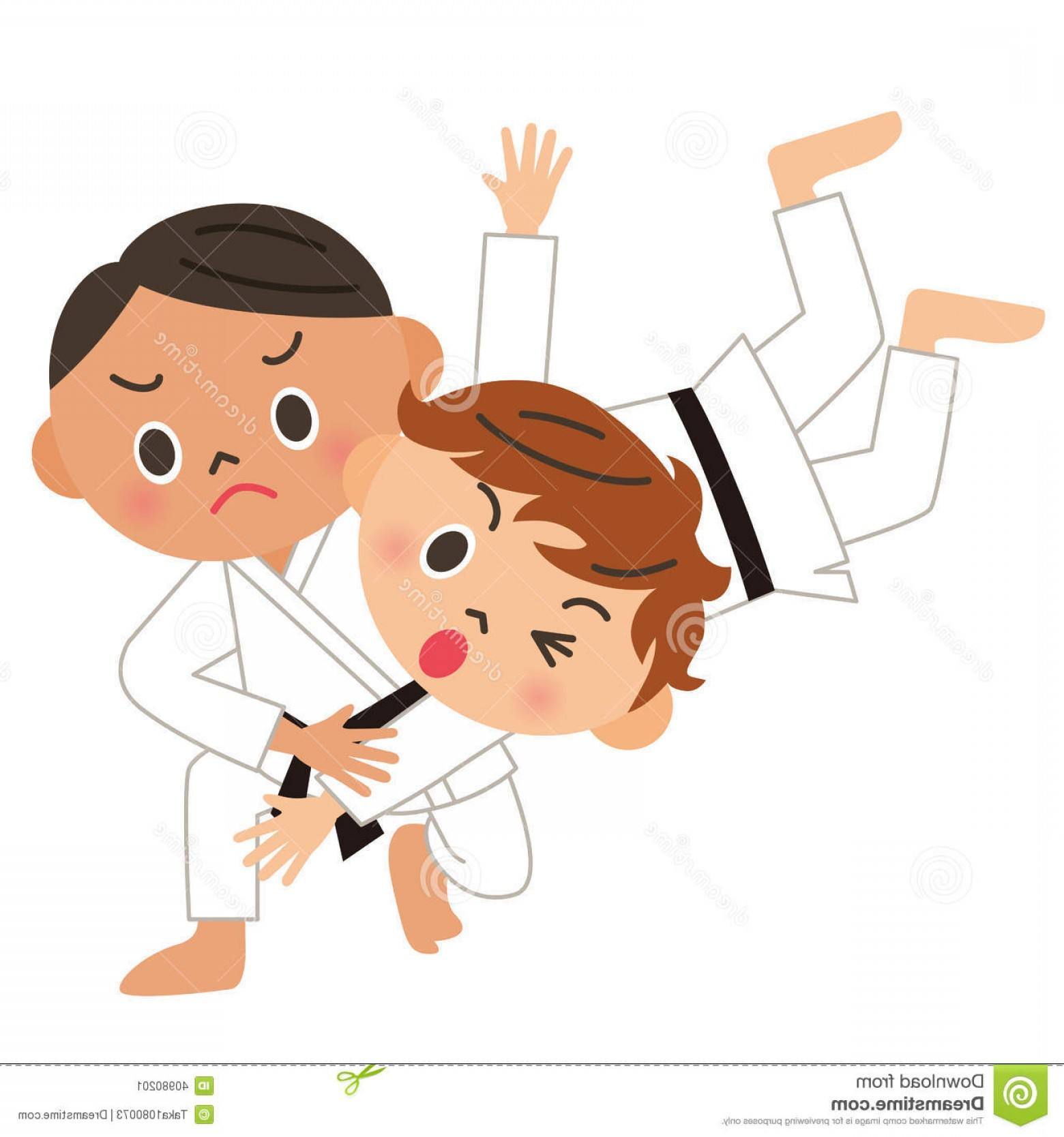 Judo Throw Vector Graphics: Stock Illustration Karate Judo Back Throw Strong Child Who Learns Martial Arts Image