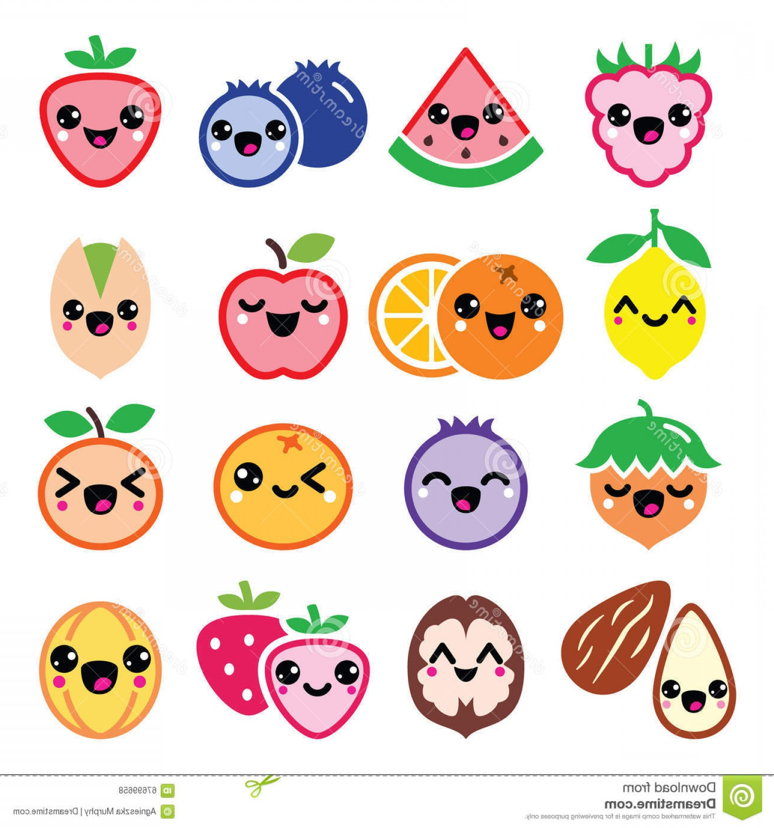 Kawaii Bug Vector: Stock Illustration Kawaii Fruit Nuts Cute Characters Design Vector Icons Set Japanese Color White Image