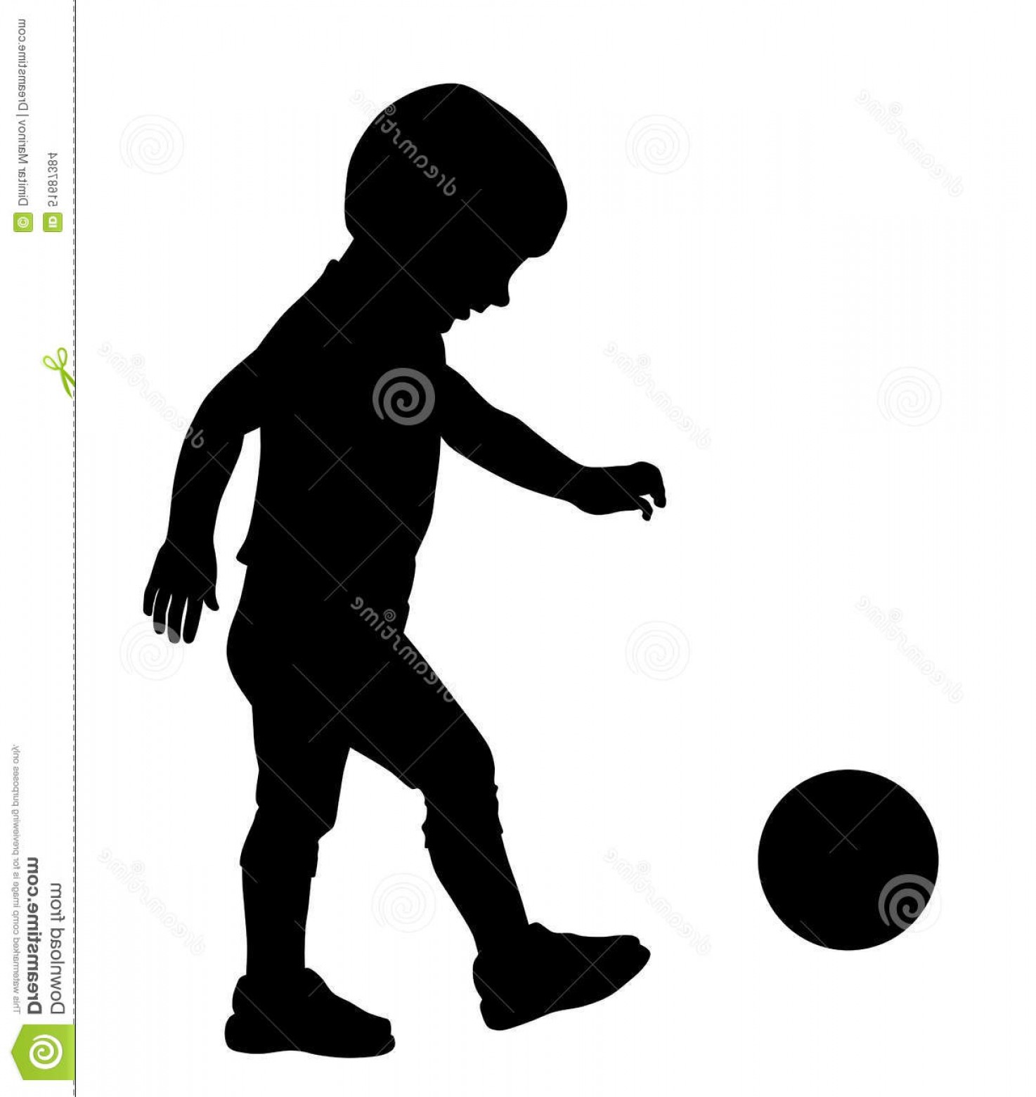 Little Boy Silhouette Vector: Stock Illustration Kid Playing Ball Vector Illustration Little Silhouette Image