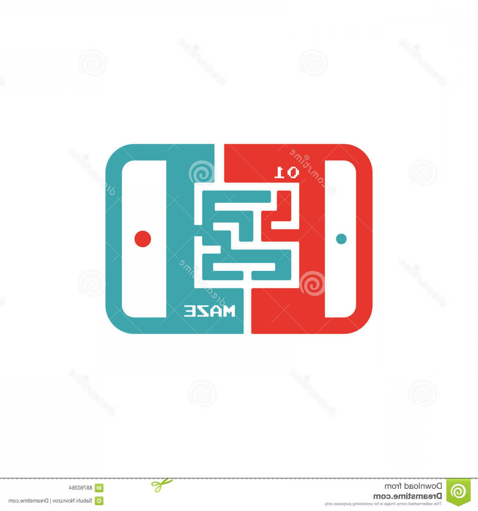 Vector The Game On PC: Stock Illustration Kiev Ukraine Avgust Game Maze Labyrinth Icon Tablet Pc Vector Illustration Image Laptop Red Blue Image