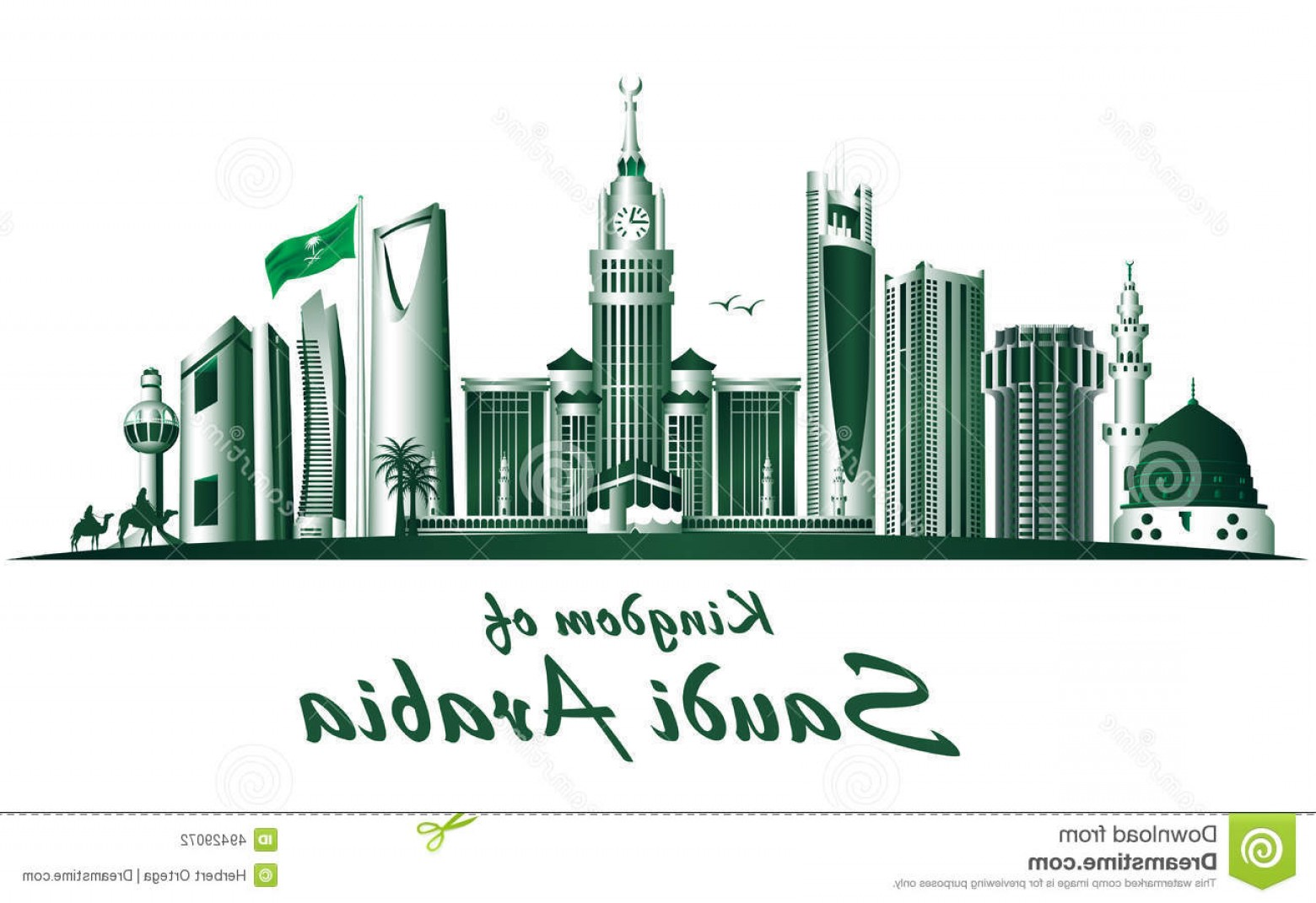 City Building Vector Free Download: Stock Illustration Kingdom Saudi Arabia Famous Buildings Editable Vector Illustration Image