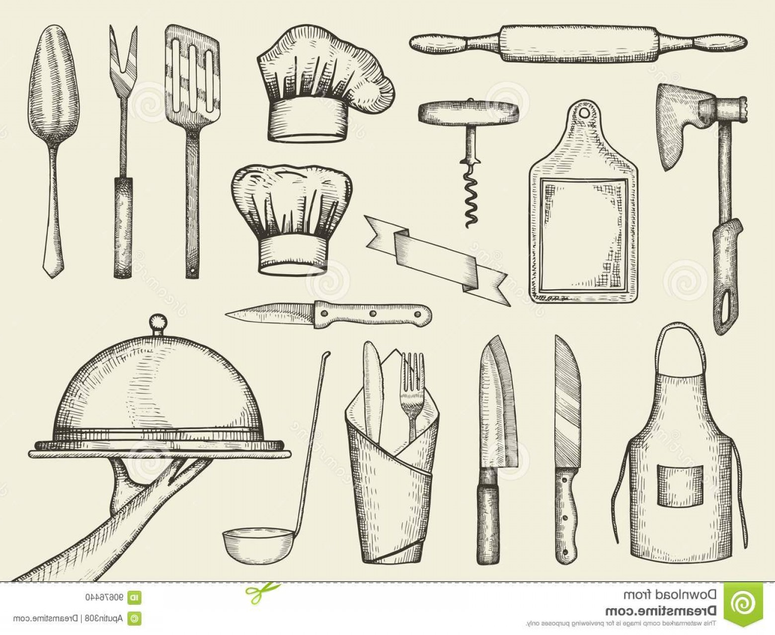 Vector Vintage Kitchen: Stock Illustration Kitchen Accessories Vector Vintage Hand Drawings Isolated Image