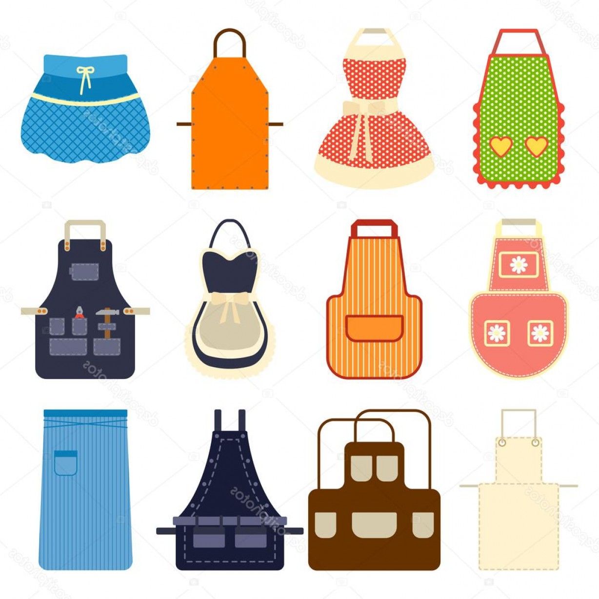 Apron Vector: Stock Illustration Kitchen Apron Set Vector Illustration