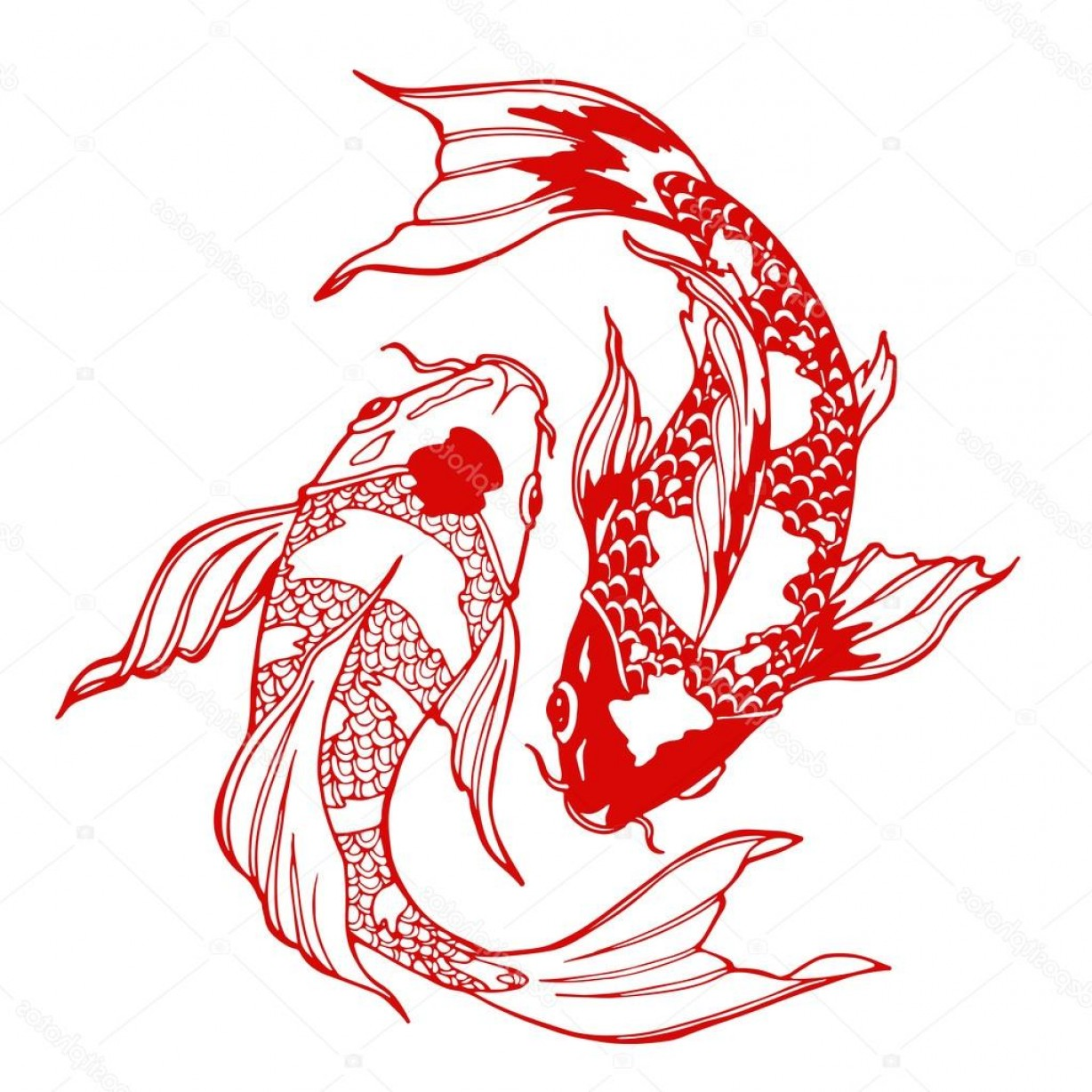 Koi Vector: Stock Illustration Koi Fish Ying Yang Symbol