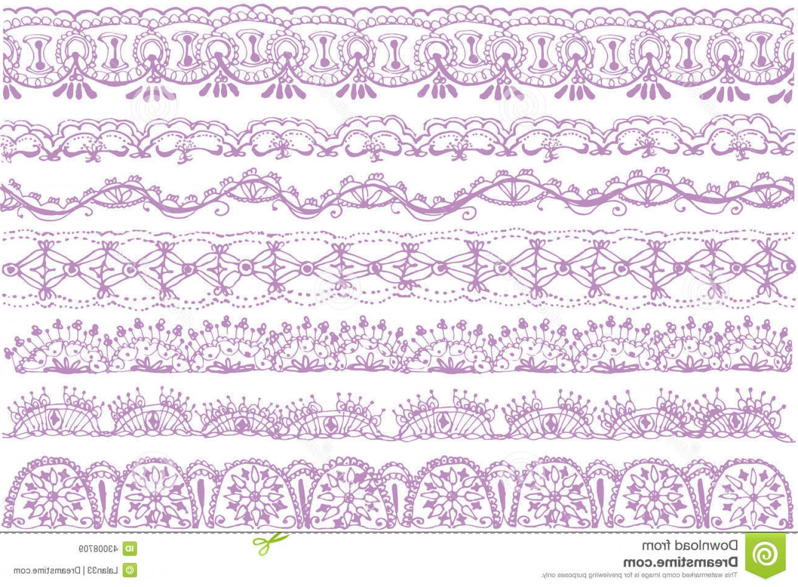 Floral Lace Trim Vector: Stock Illustration Lace Trims Set Trim Textures Image