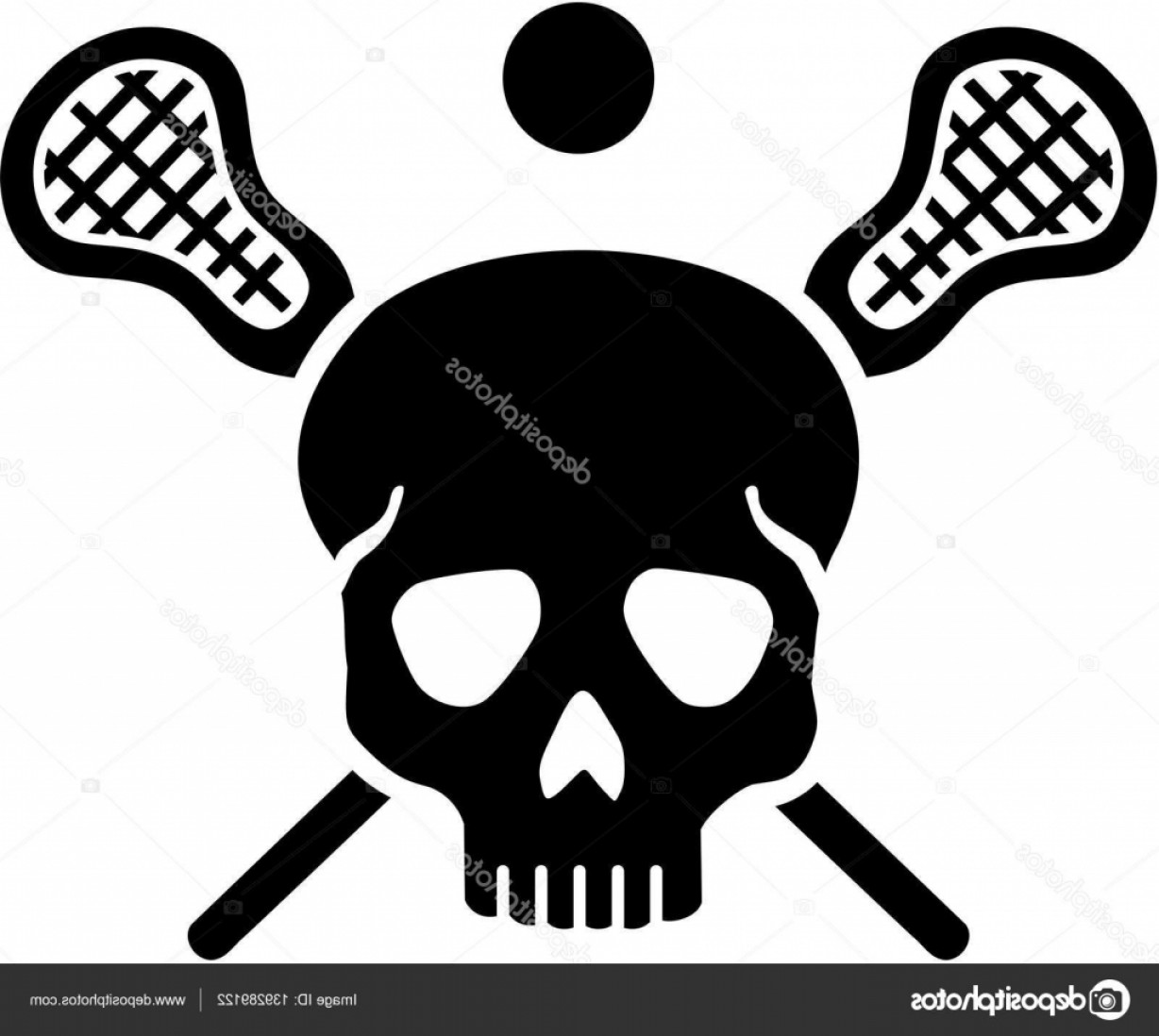Lacrosse Stick Vector: Stock Illustration Lacrosse Skull With Crossed Sticks