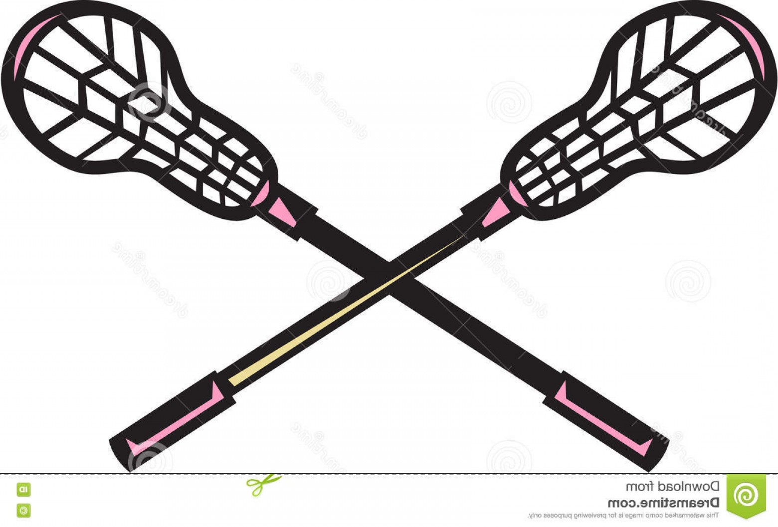 Lacrosse Stick Vector: Stock Illustration Lacrosse Stick Woodcut Illustration Crossed Set White Background Done Retro Style Image
