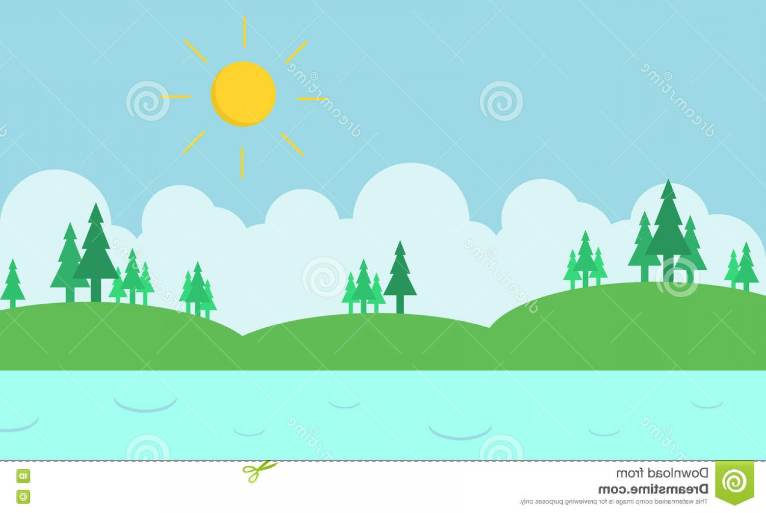 River Silhouette Vector Art: Stock Illustration Landscape Hill River Silhouette Vector Art Image